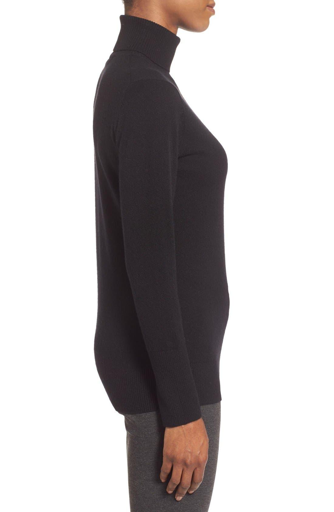 NORDSTROM COLLECTION,                             Cashmere Turtleneck Sweater,                             Alternate thumbnail 3, color,                             001