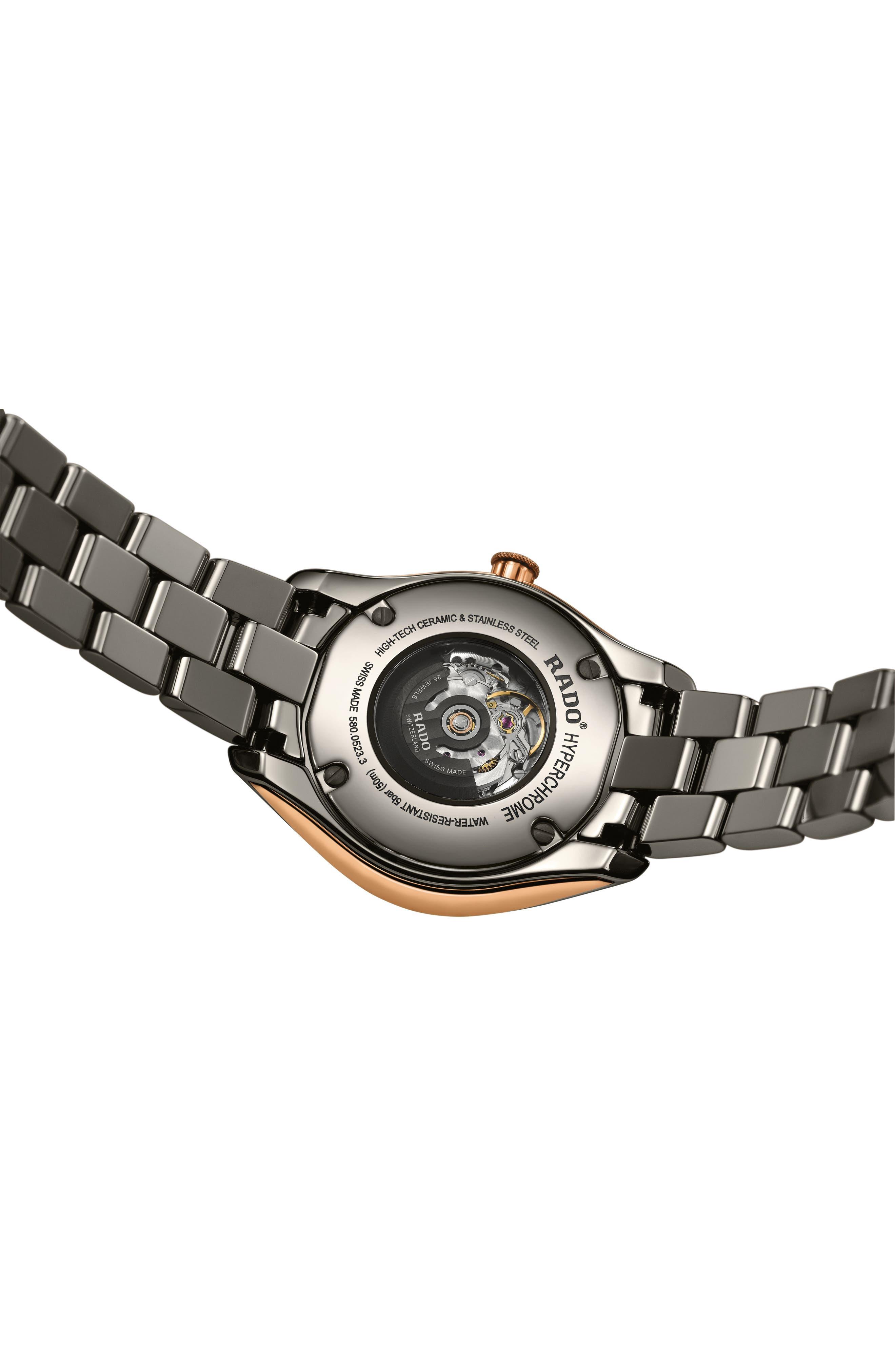HyperChrome Automatic Diamond Ceramic Bracelet Watch, 36mm,                             Alternate thumbnail 2, color,                             PLASMA/ ROSE GOLD