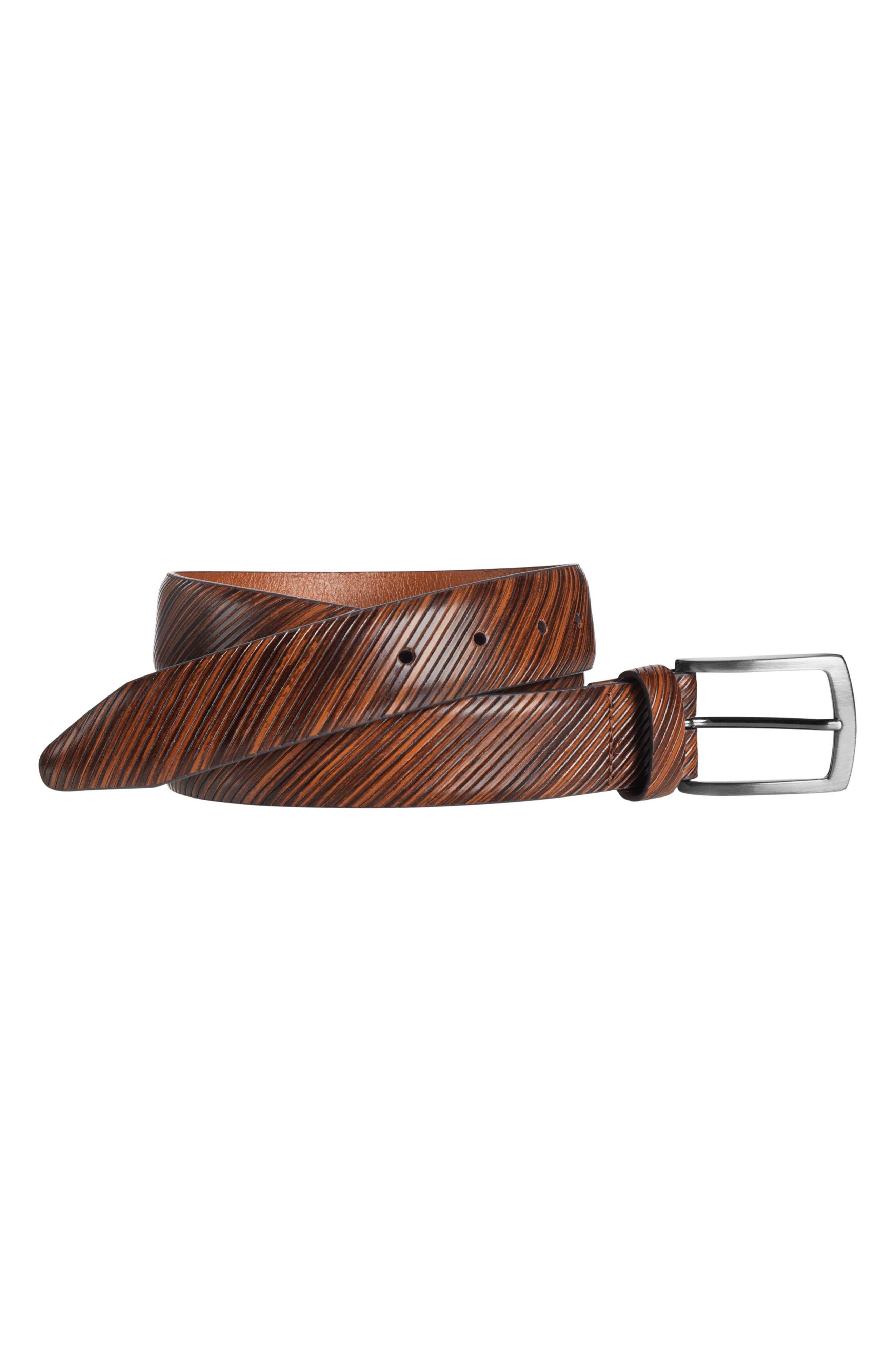 Diagonal Embossed Leather Belt,                         Main,                         color, TAN