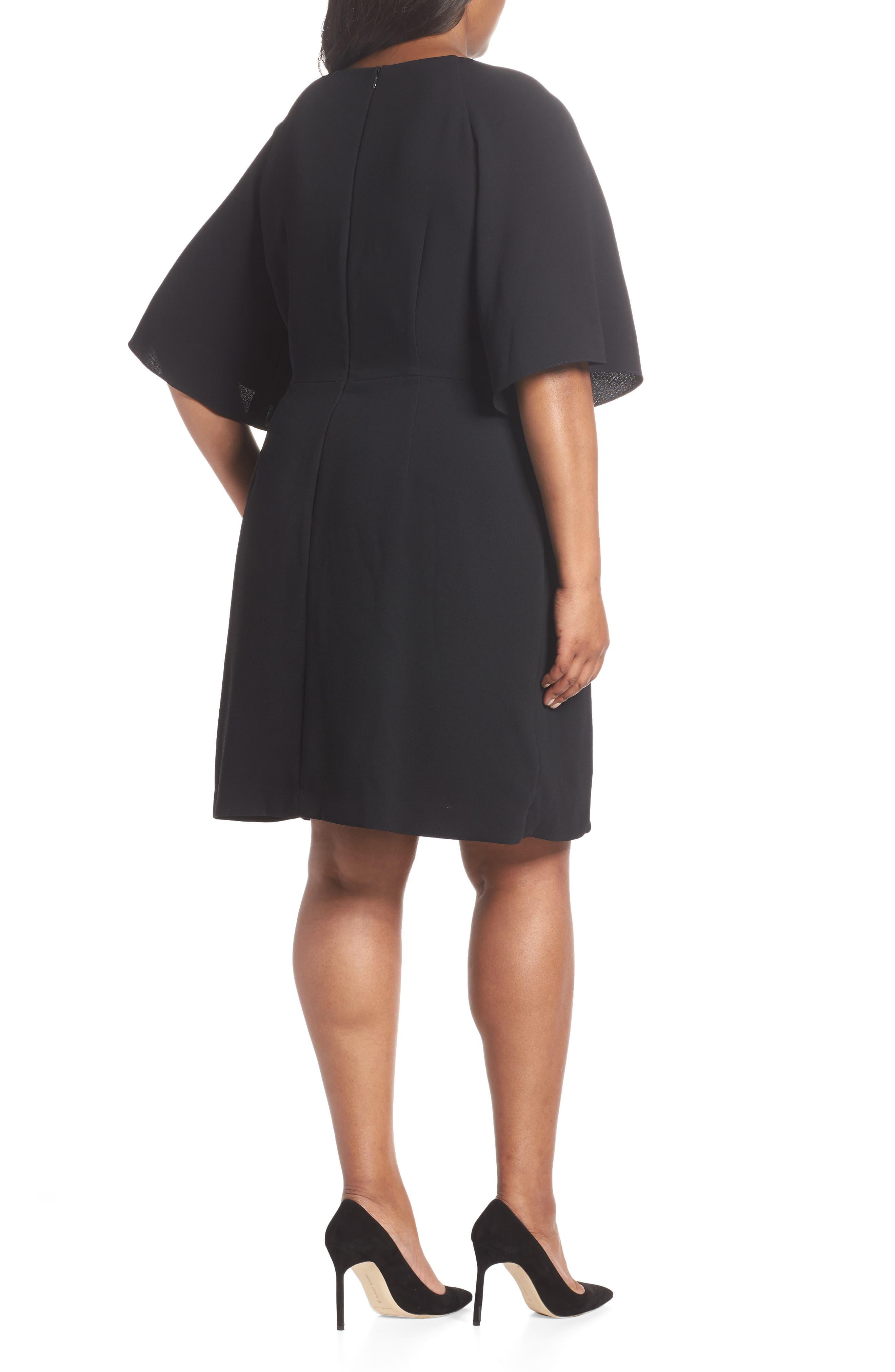 Tie Front Crepe Shift Dress,                             Alternate thumbnail 2, color,                             BLACK