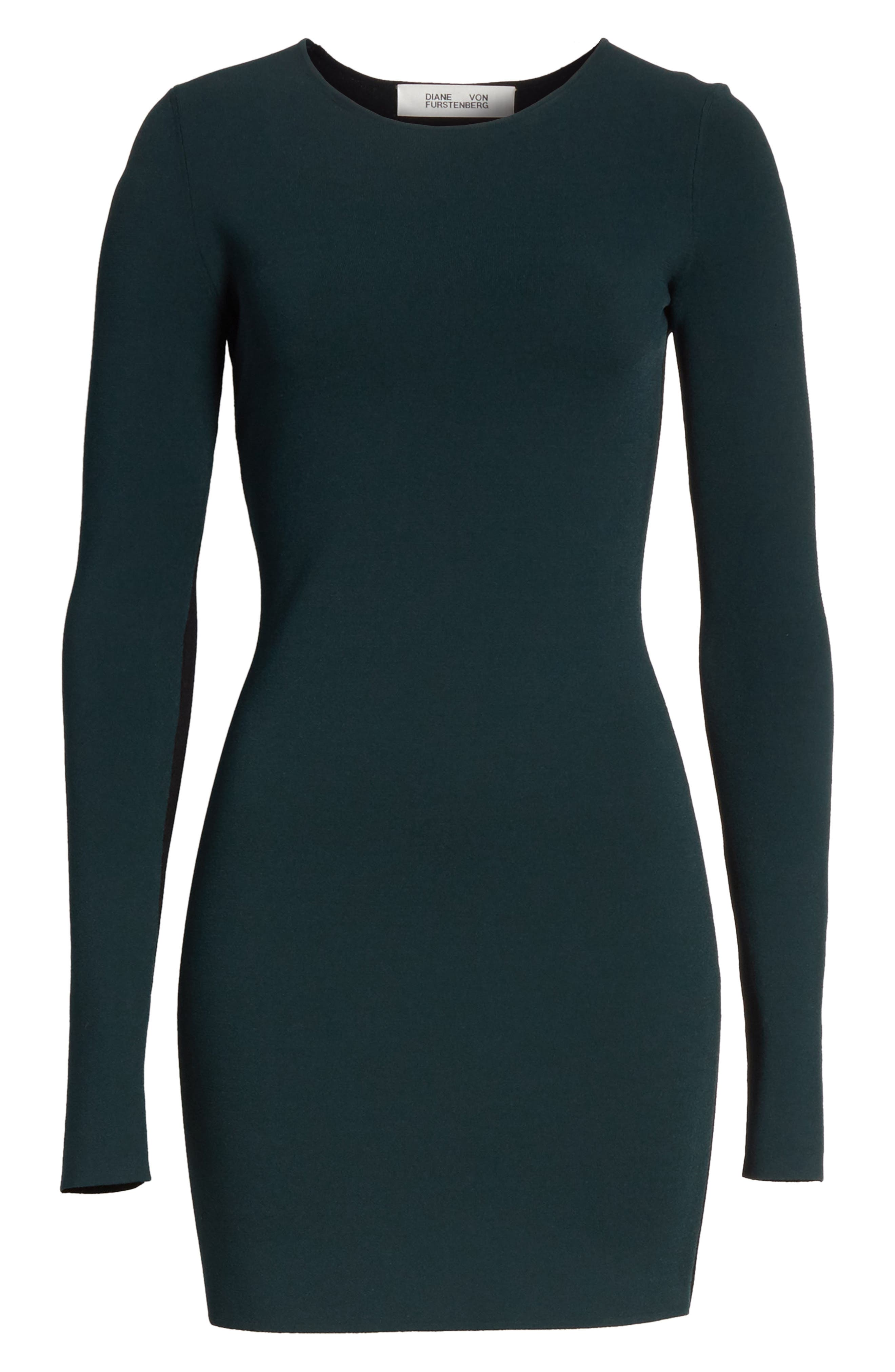 Diane von Furstenberg Long Sleeve Minidress,                             Alternate thumbnail 6, color,                             361
