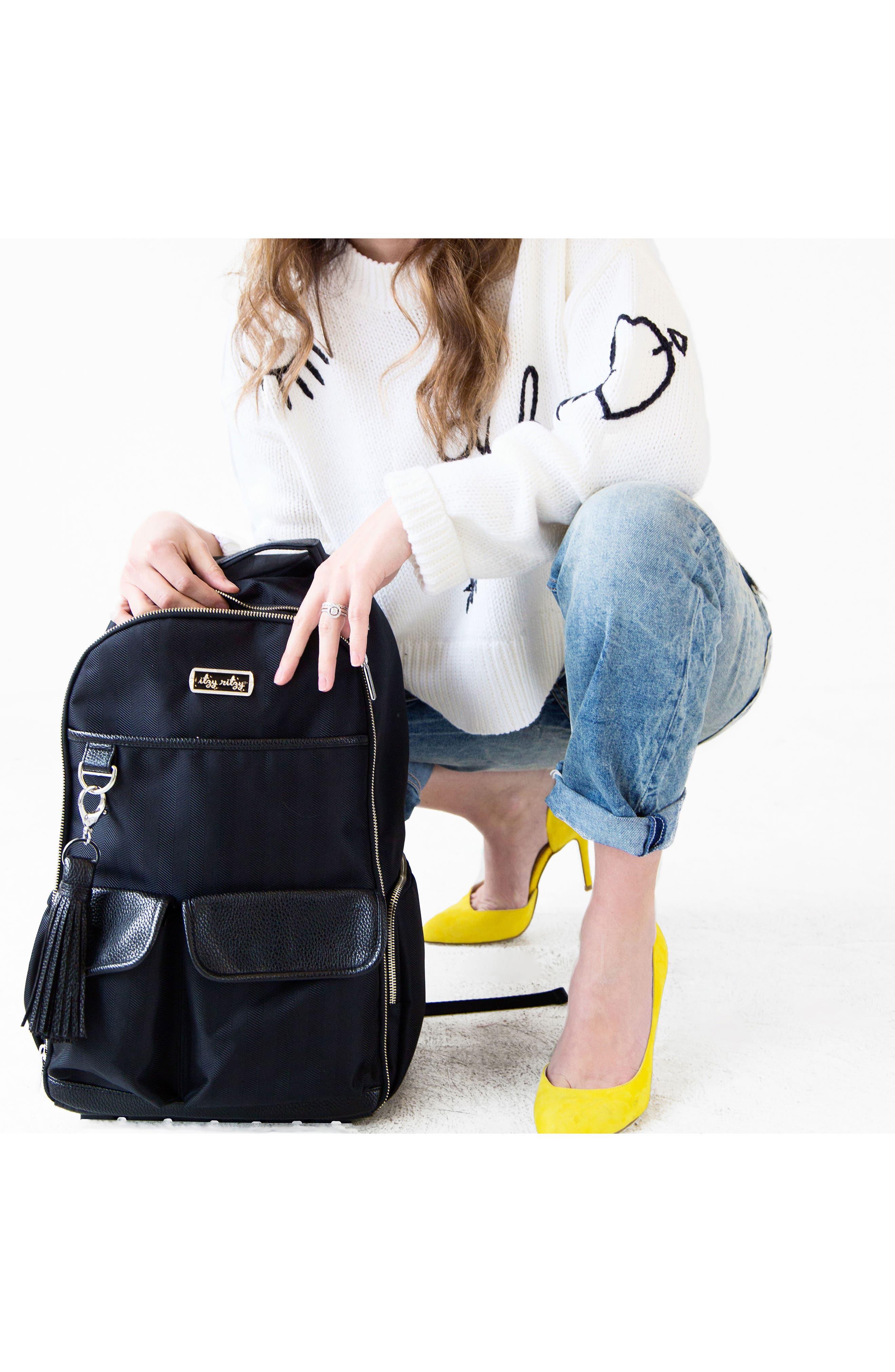 Diaper Bag Backpack,                             Alternate thumbnail 8, color,                             BLACK HERRINGBONE
