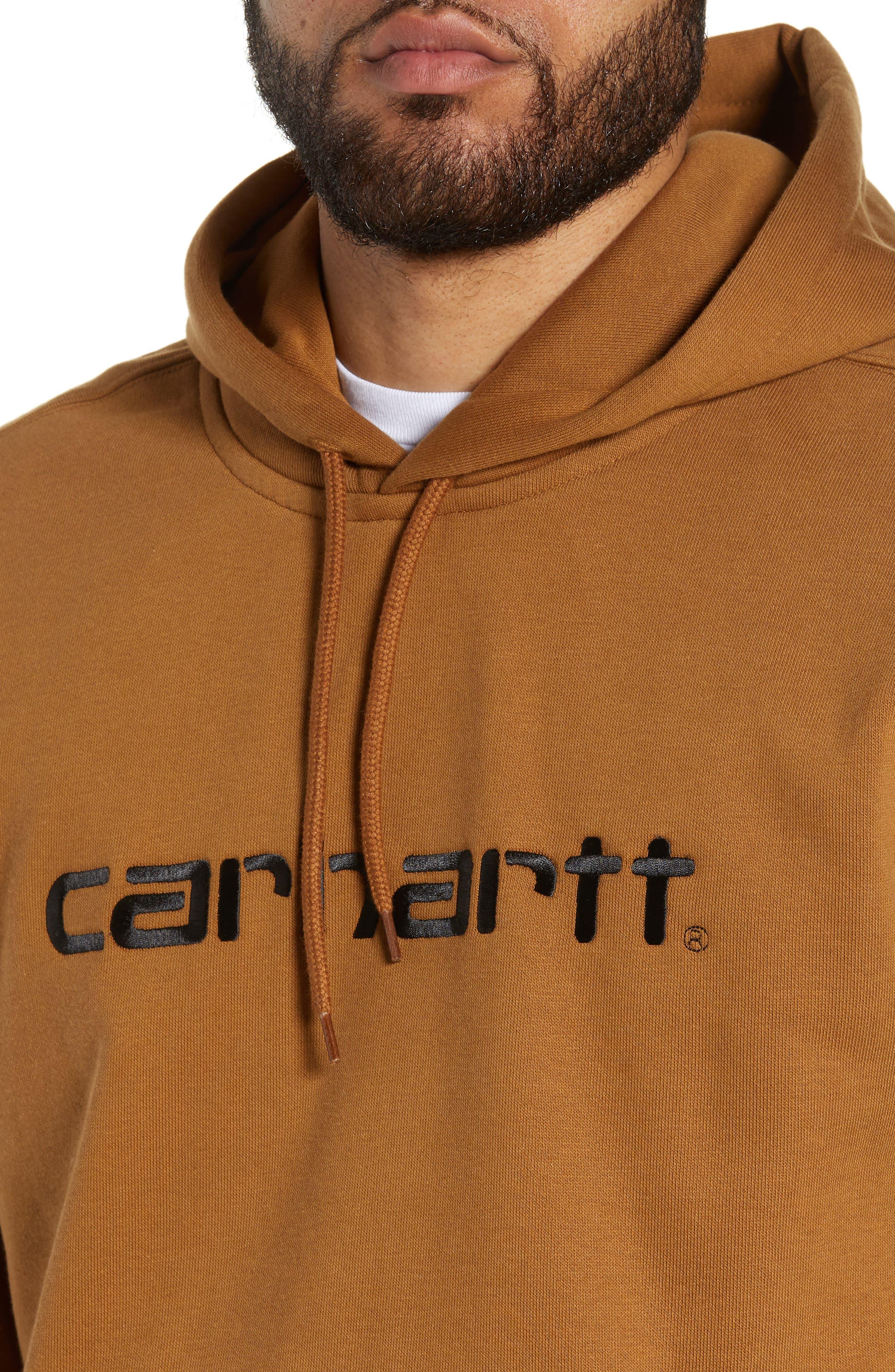 Logo Embroidered Hooded Sweatshirt,                             Alternate thumbnail 4, color,                             HAMILTON BROWN / BLACK