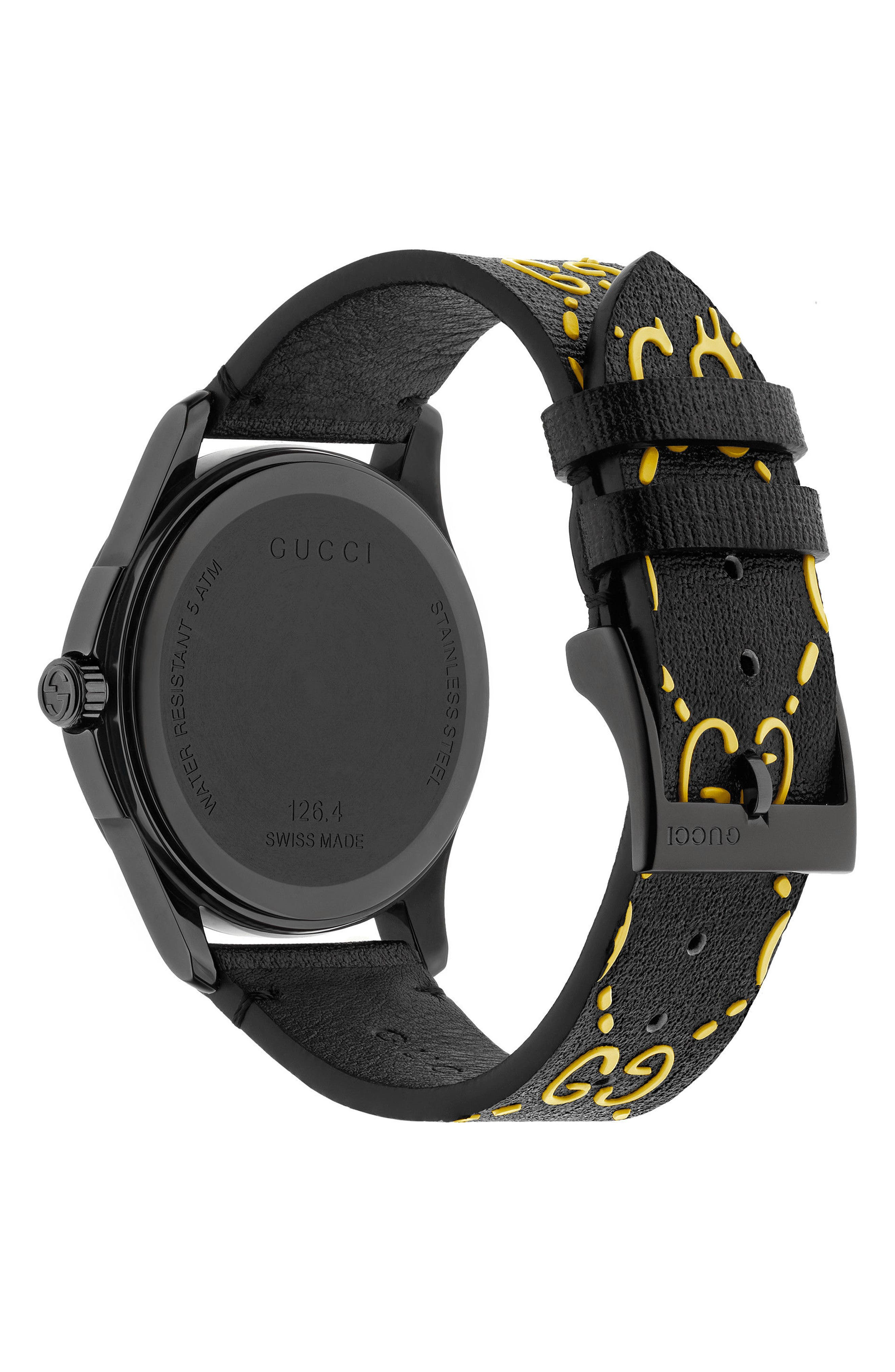 GG Rubber Strap Watch, 38mm,                             Alternate thumbnail 2, color,                             001