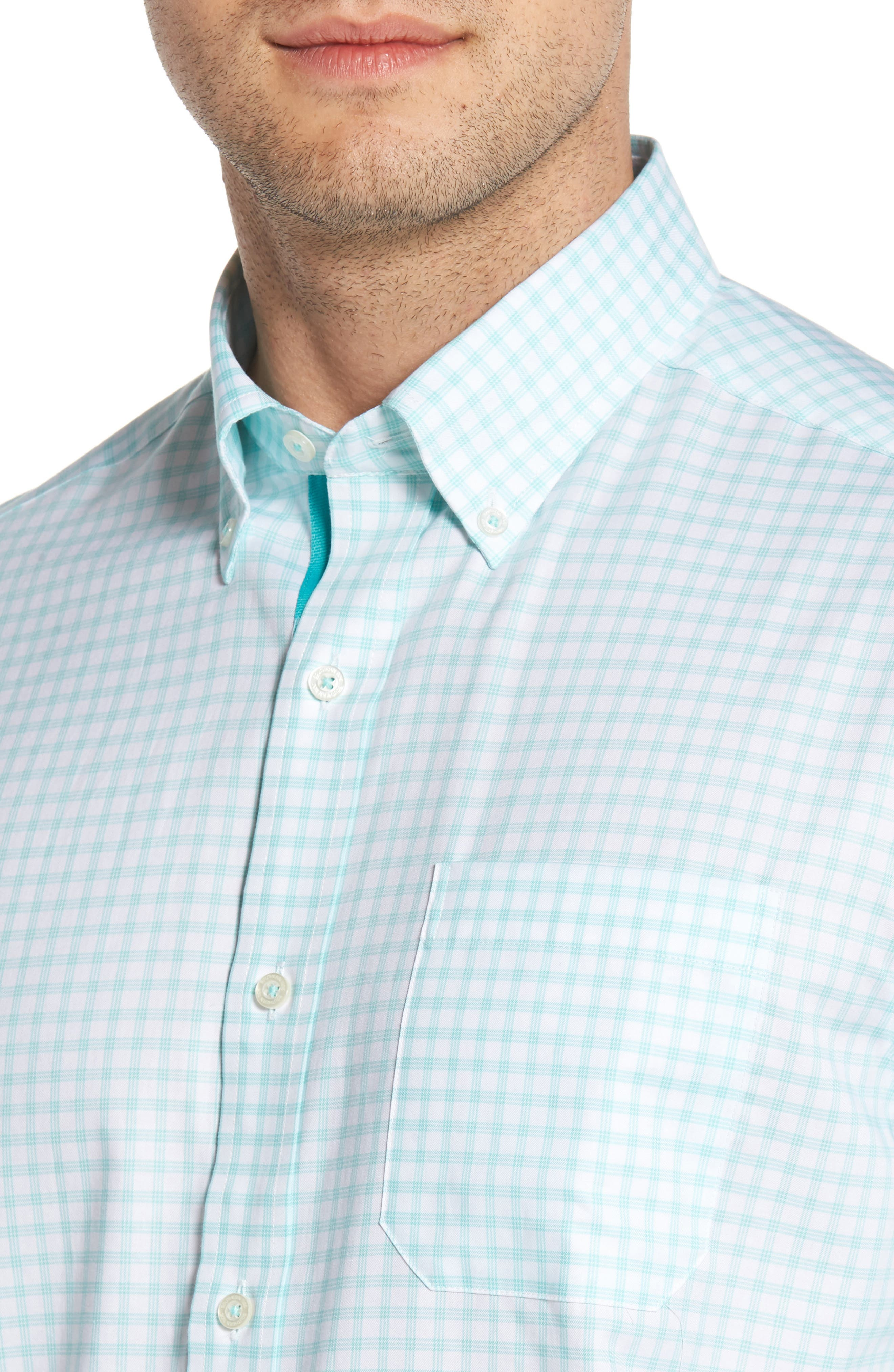 Like Oak Regular Fit Check Sport Shirt,                             Alternate thumbnail 4, color,                             MINT