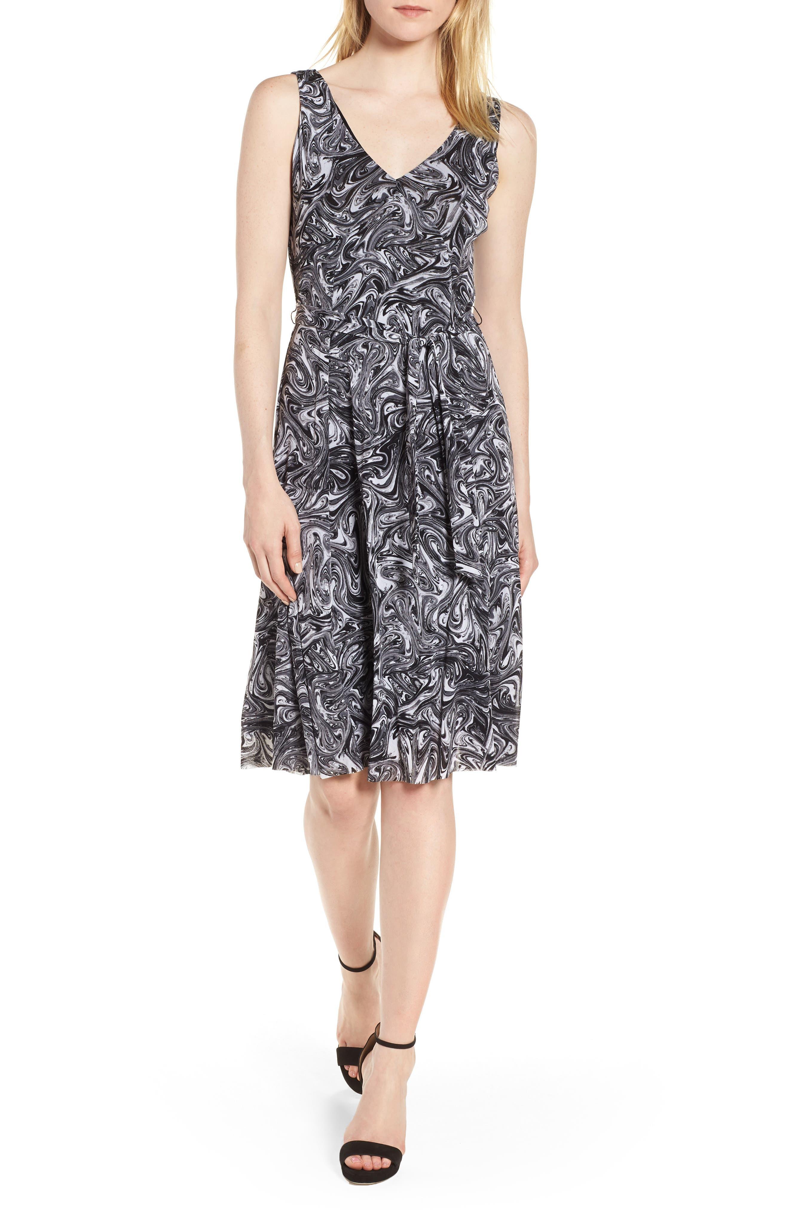 Watermark Swirl Flare Tank Dress,                             Main thumbnail 1, color,                             001