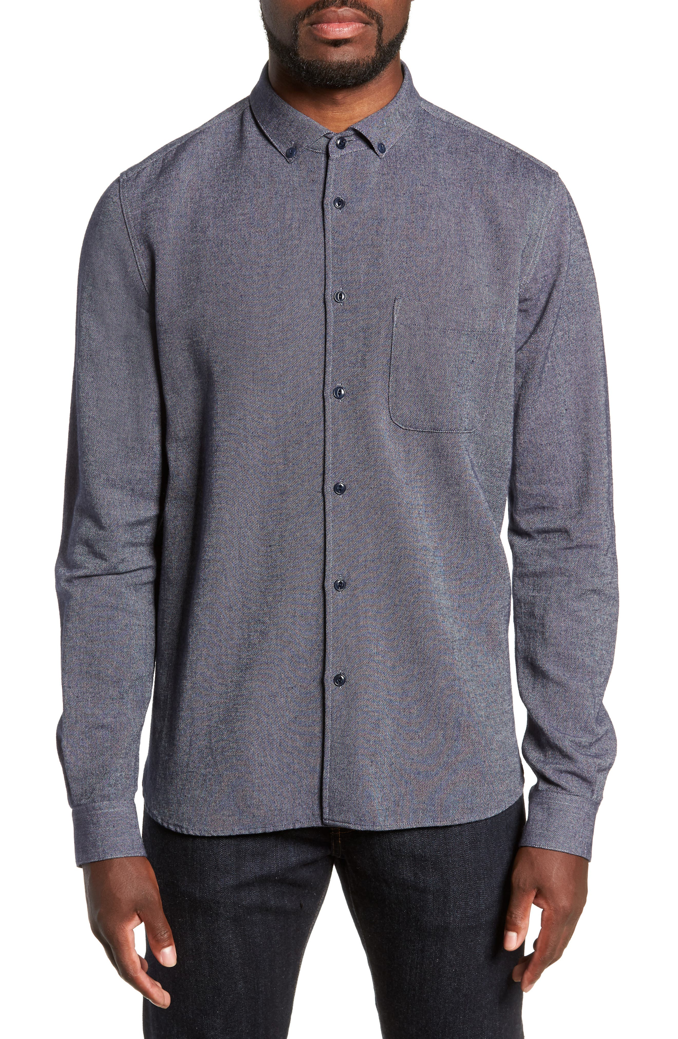 Dean Regular Fit Chambray Shirt,                         Main,                         color, NAVY