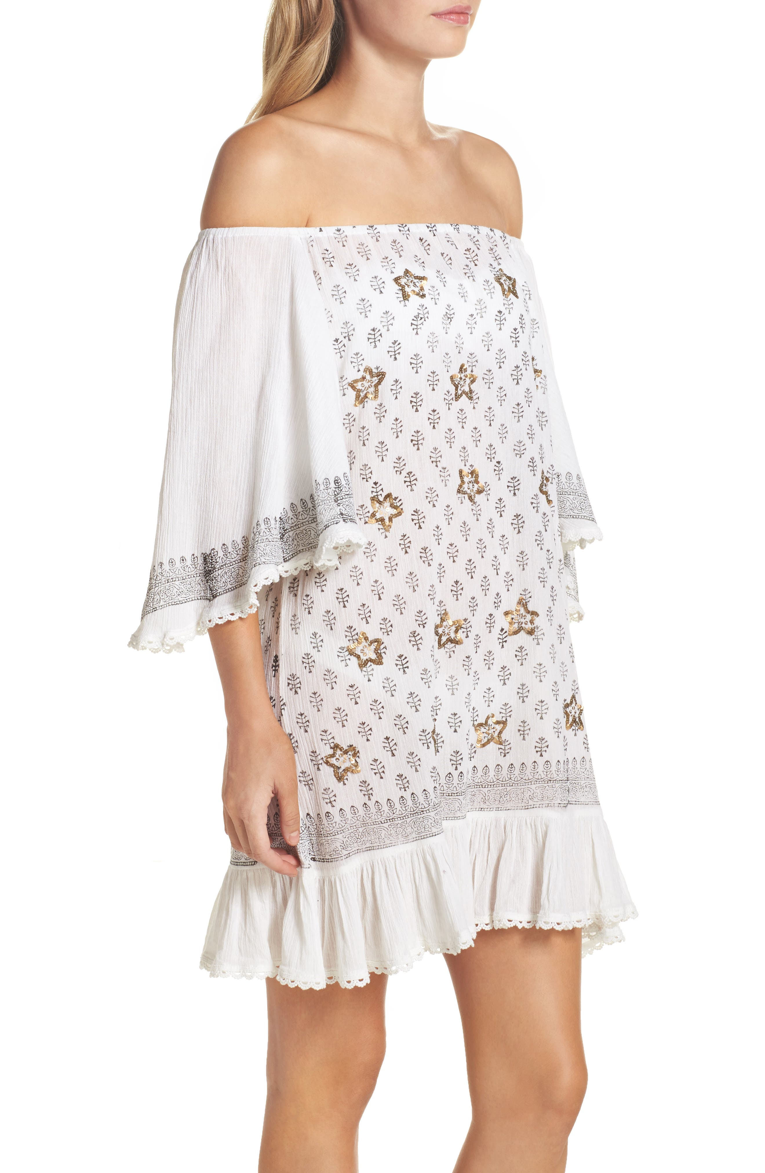 Dreamer Off the Shoulder Cover-Up Dress,                             Alternate thumbnail 3, color,                             100