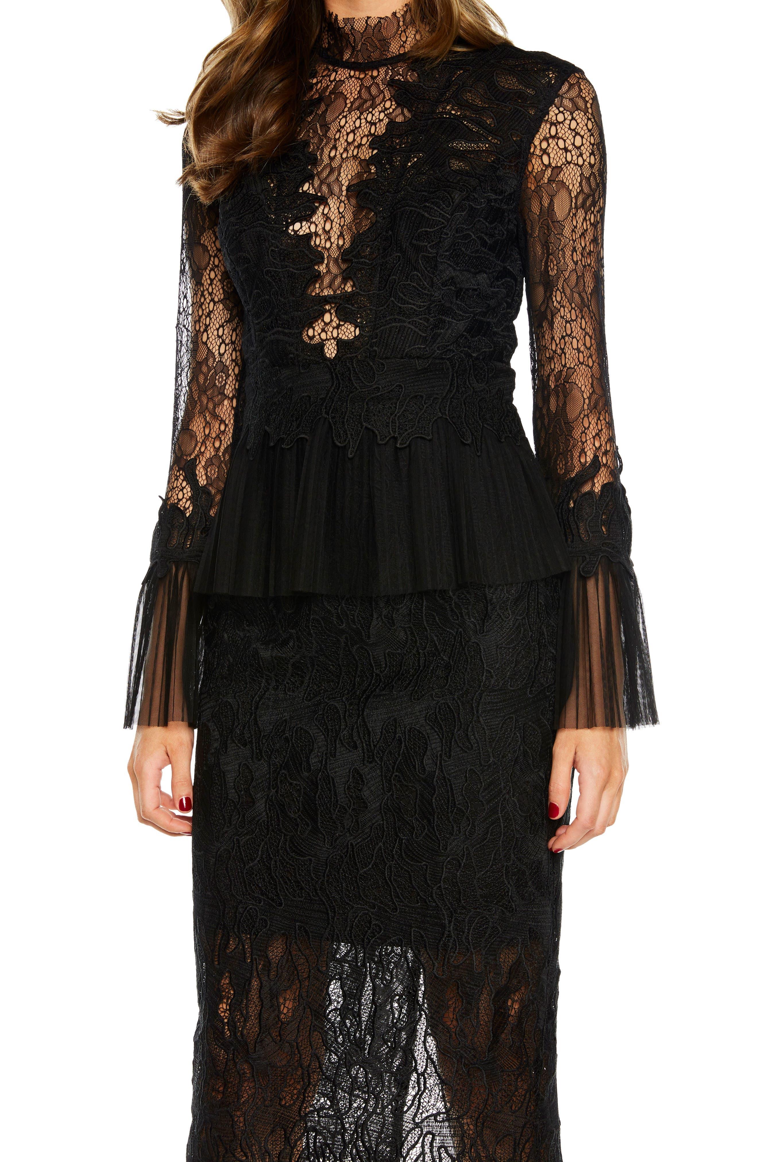 Frankie Lace Dress,                             Alternate thumbnail 4, color,                             001