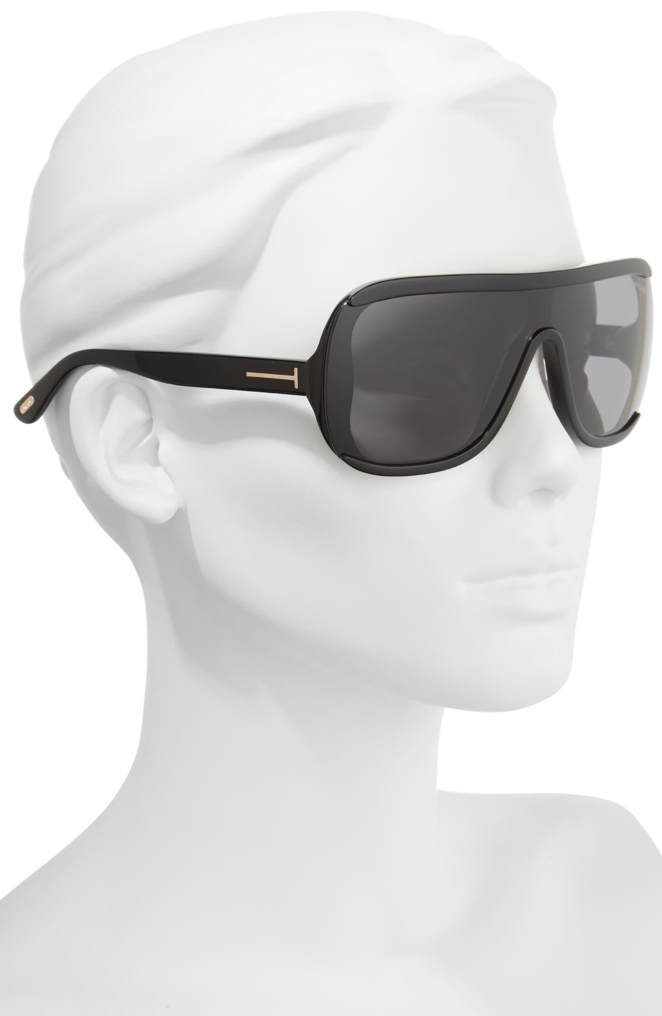 TOM FORD,                             Porfirio 65mm One-Piece Lens Shield Sunglasses,                             Alternate thumbnail 2, color,                             001