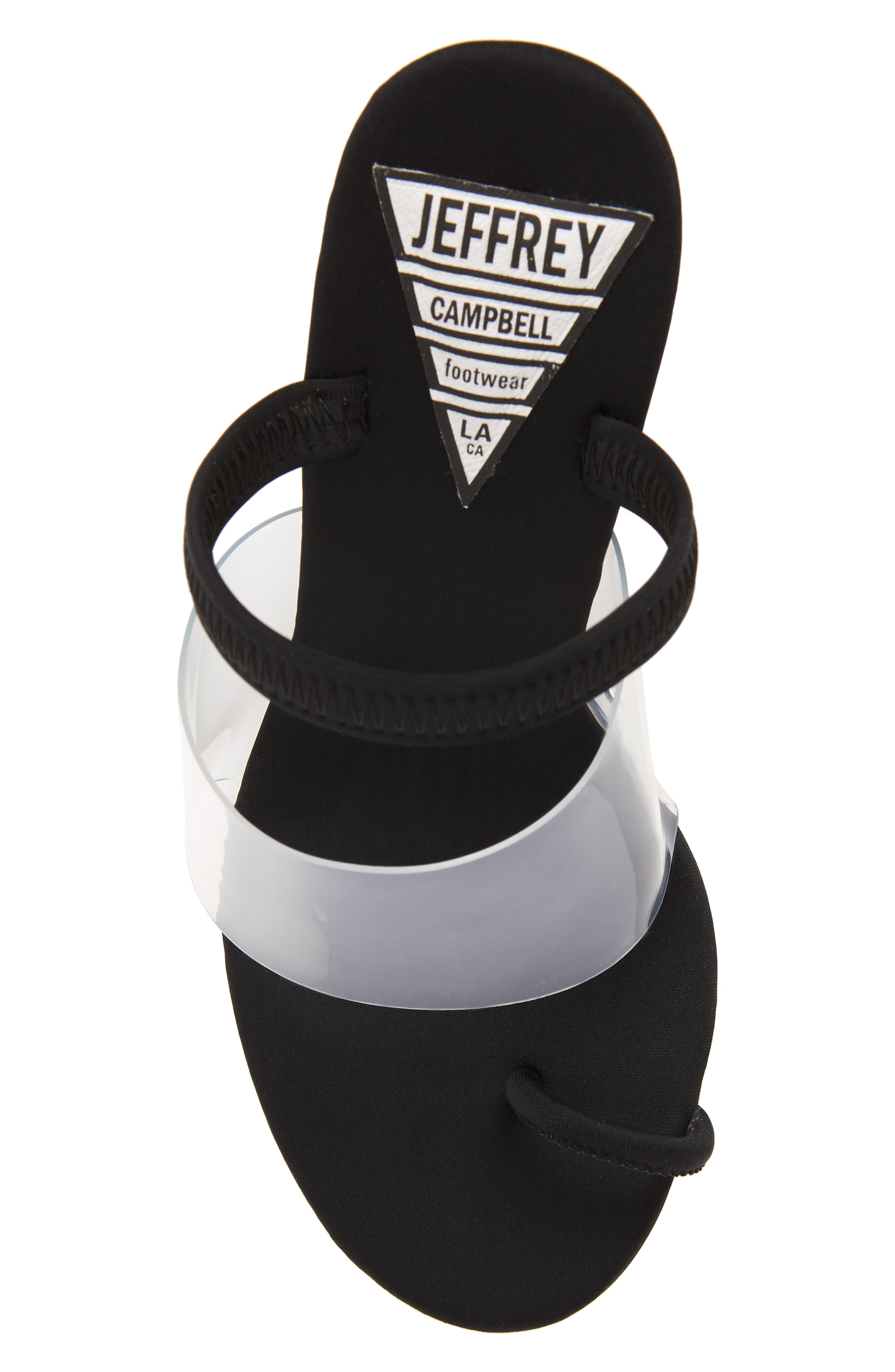 Mania Clear Toe Loop Sandal,                             Alternate thumbnail 5, color,                             BLACK FABRIC