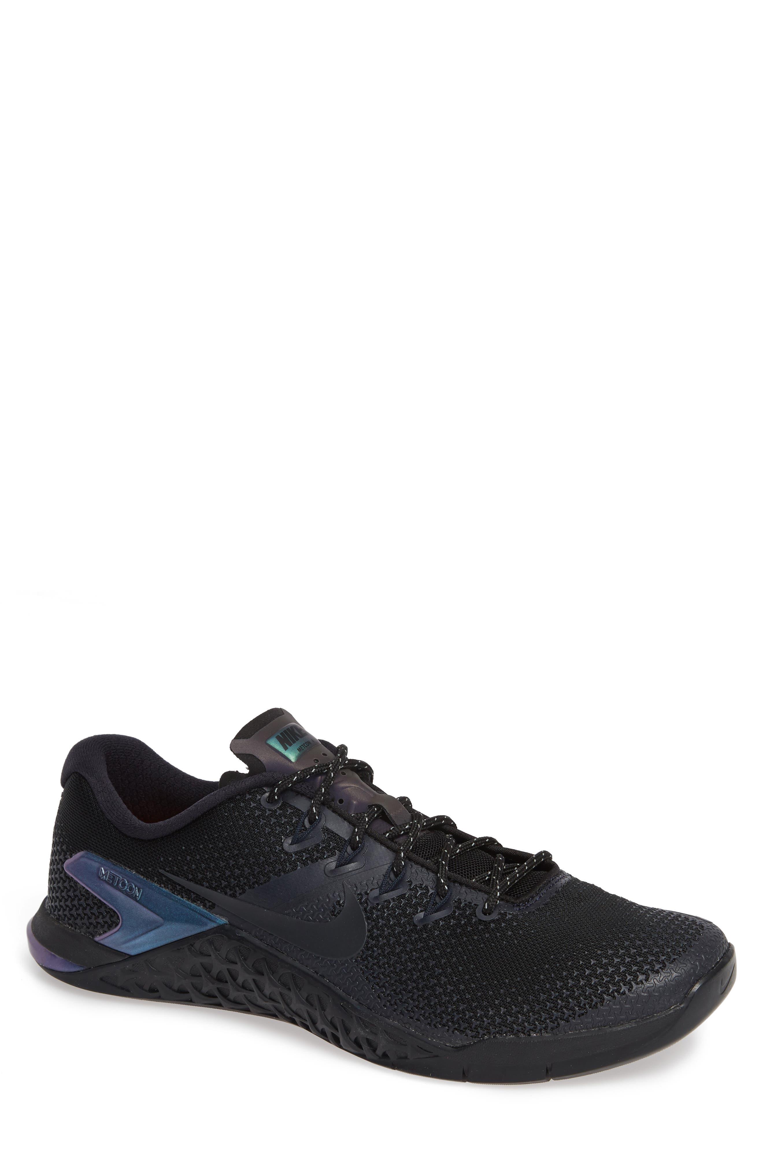 NIKE,                             Metcon 4 Prem Training Shoe,                             Main thumbnail 1, color,                             BLACK/ BLACK/ DARK OBSIDIAN