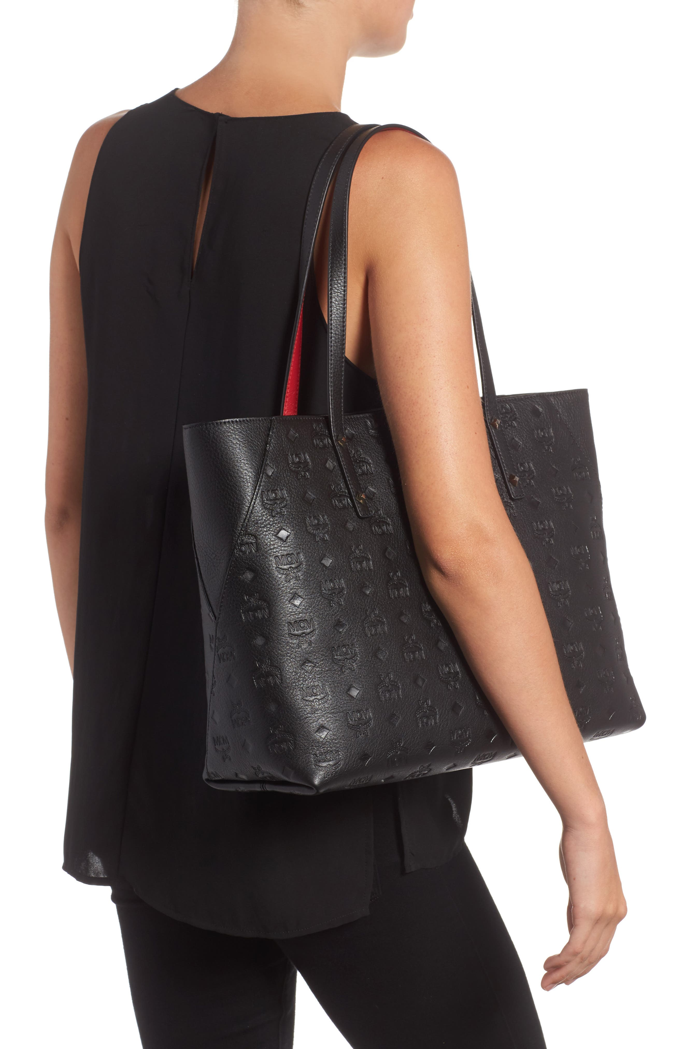 MCM,                             Klara Monogrammed Leather Shopper,                             Alternate thumbnail 2, color,                             001