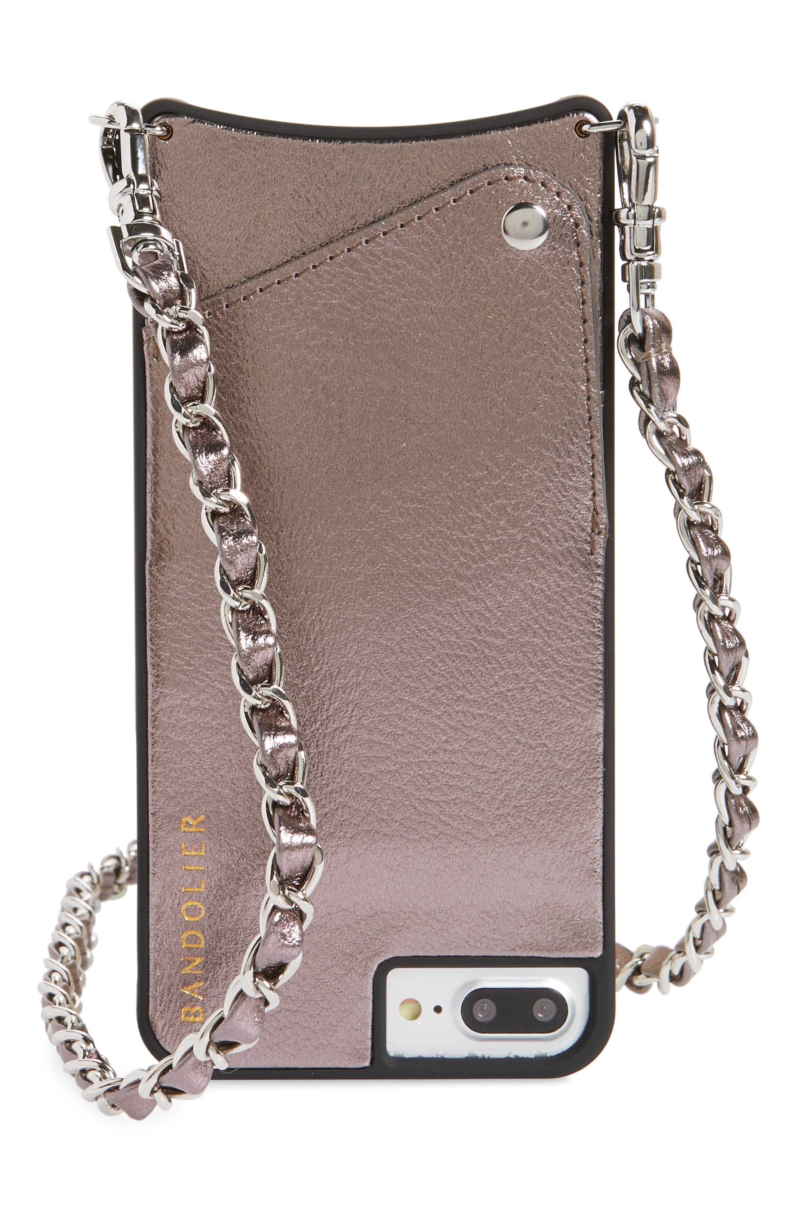 Lucy Faux Leather iPhone 7/8 & 7/8 Plus Crossbody Case,                             Main thumbnail 1, color,                             METALLIC ASH/ SILVER