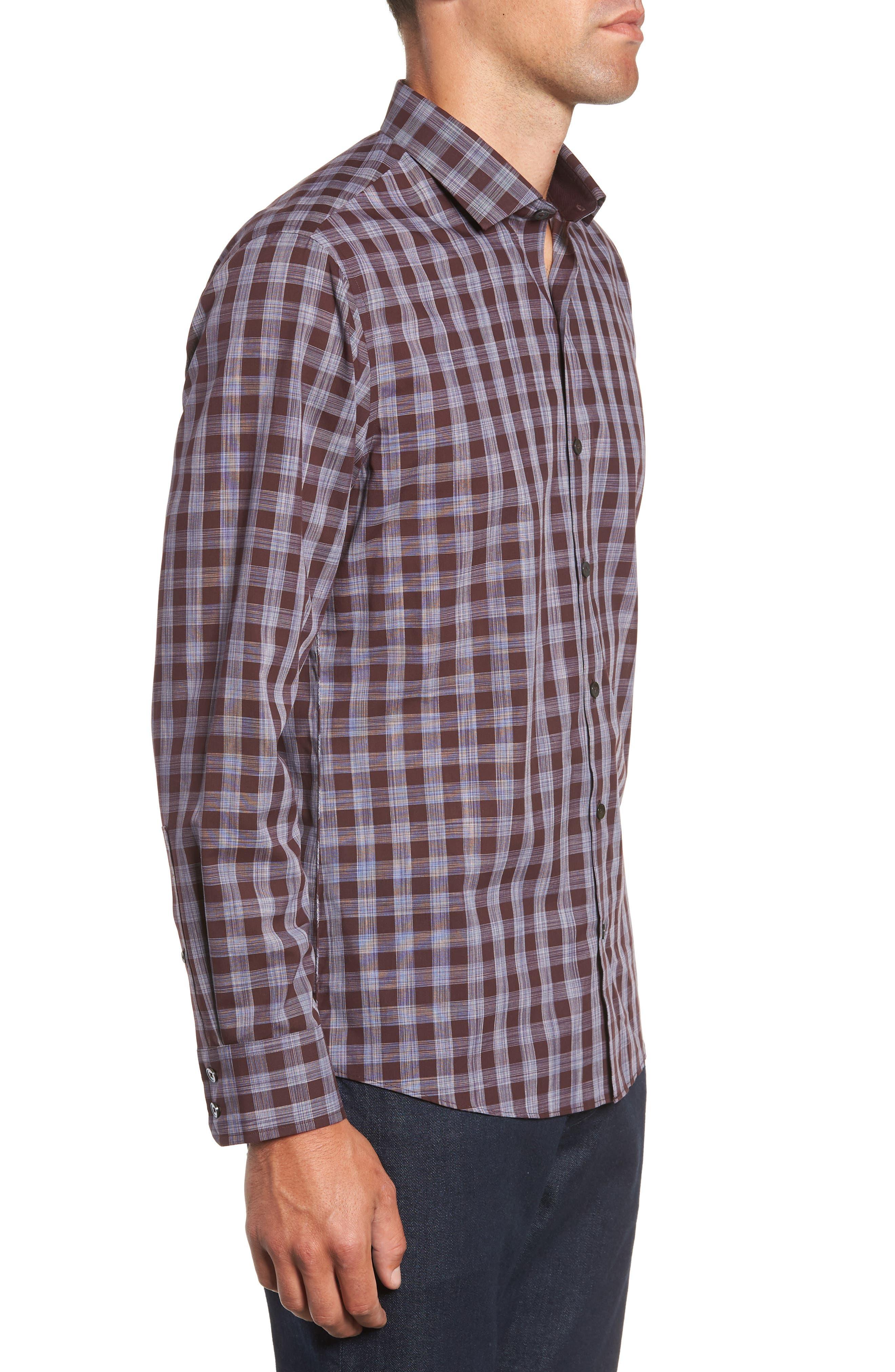 Luca Regular Fit Check Sport Shirt,                             Alternate thumbnail 4, color,                             BURGUNDY