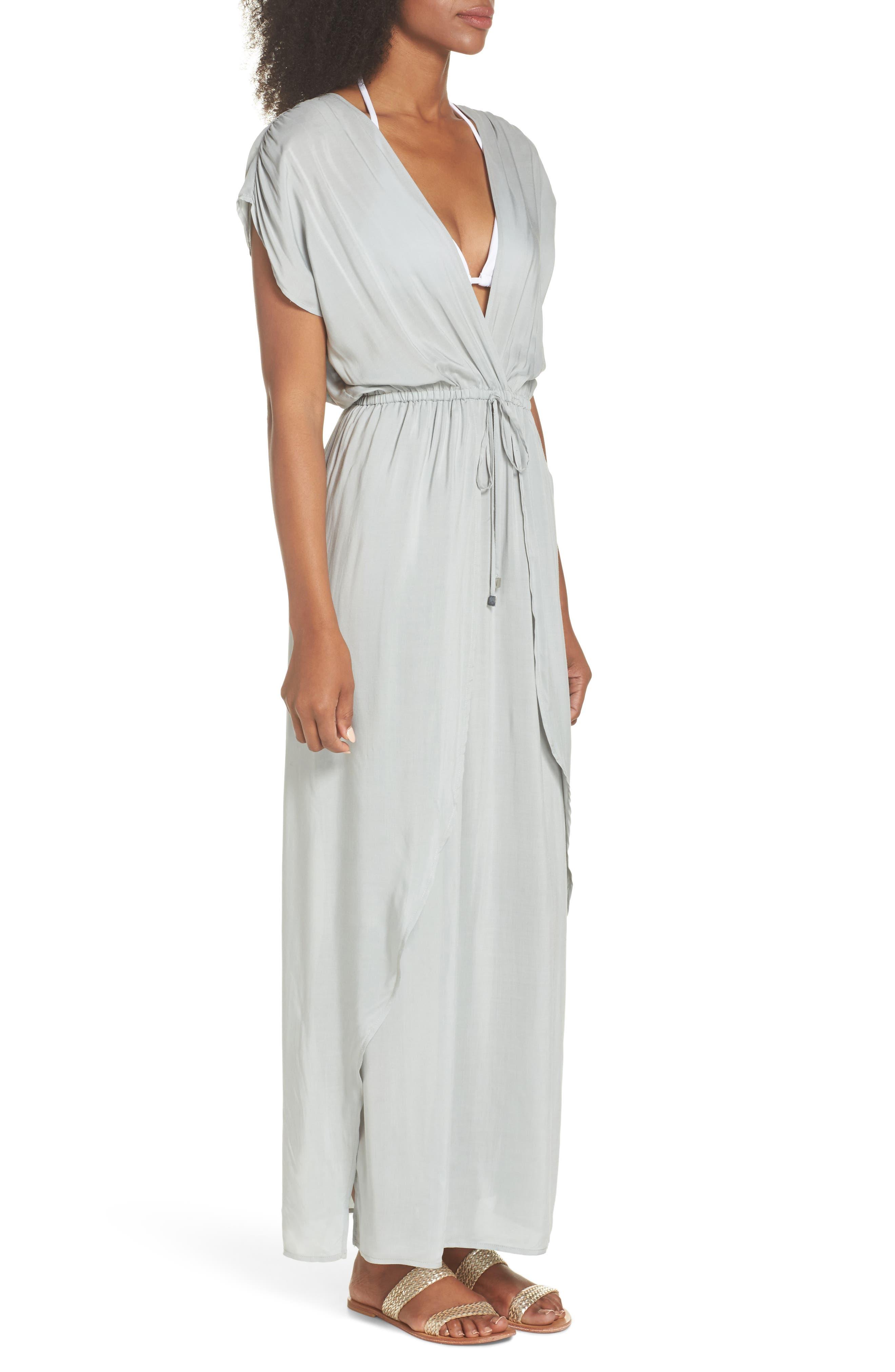 Wrap Maxi Cover-Up Dress,                             Alternate thumbnail 6, color,