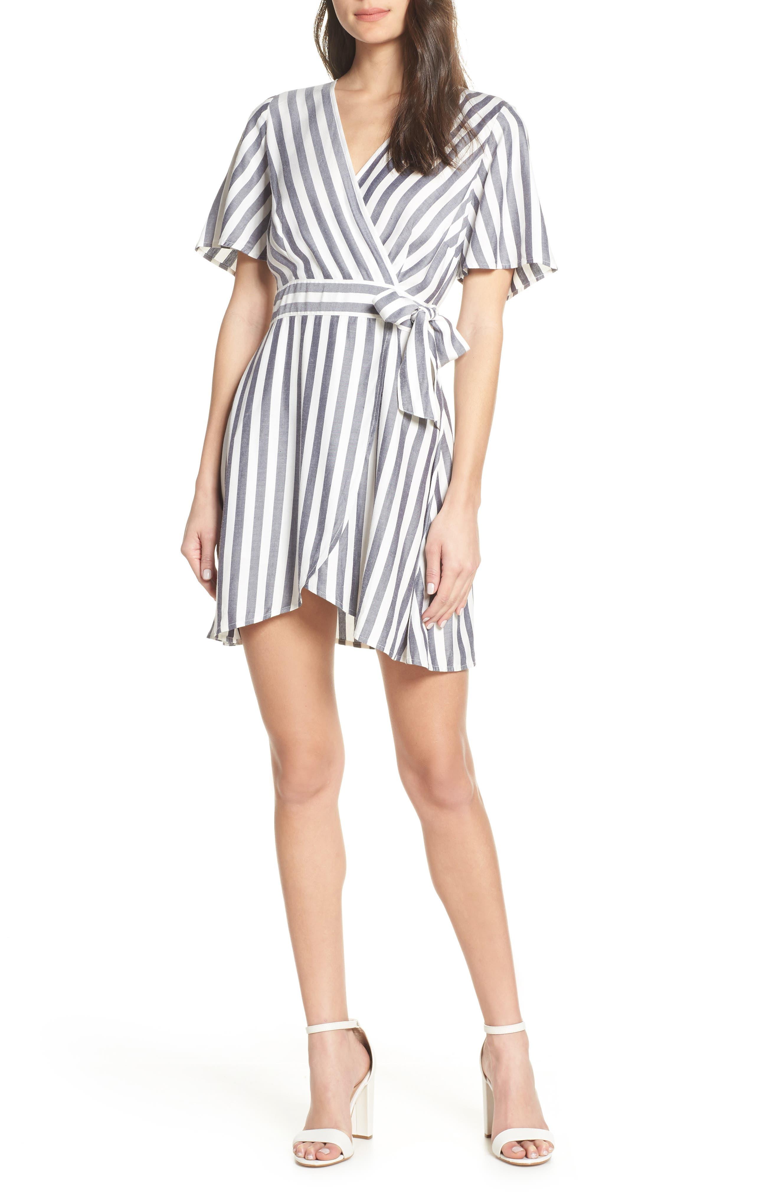 Bb Dakota Stripe Faux Wrap Dress, Blue