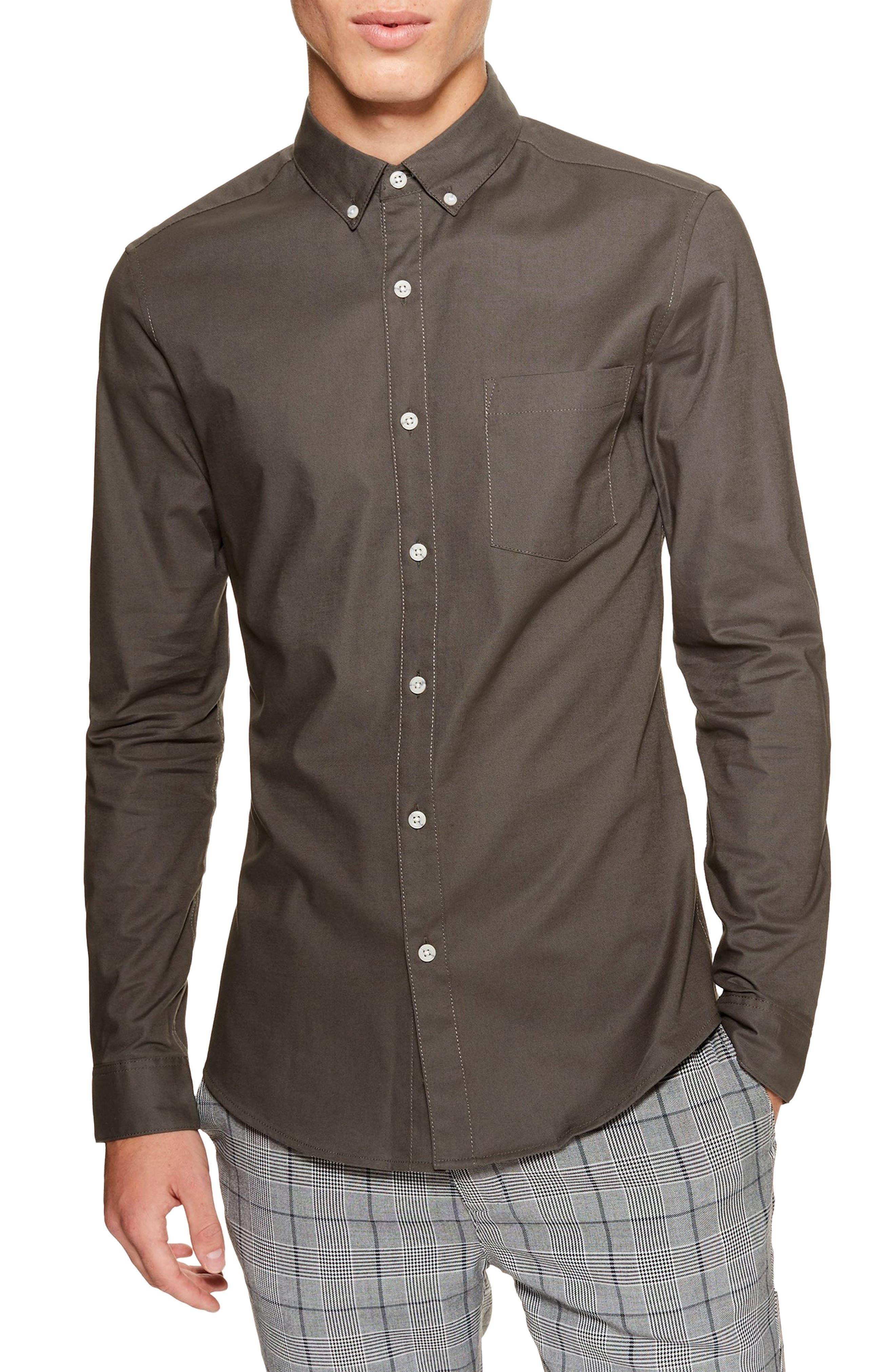 Classic Fit Oxford Shirt,                             Main thumbnail 1, color,                             GREY