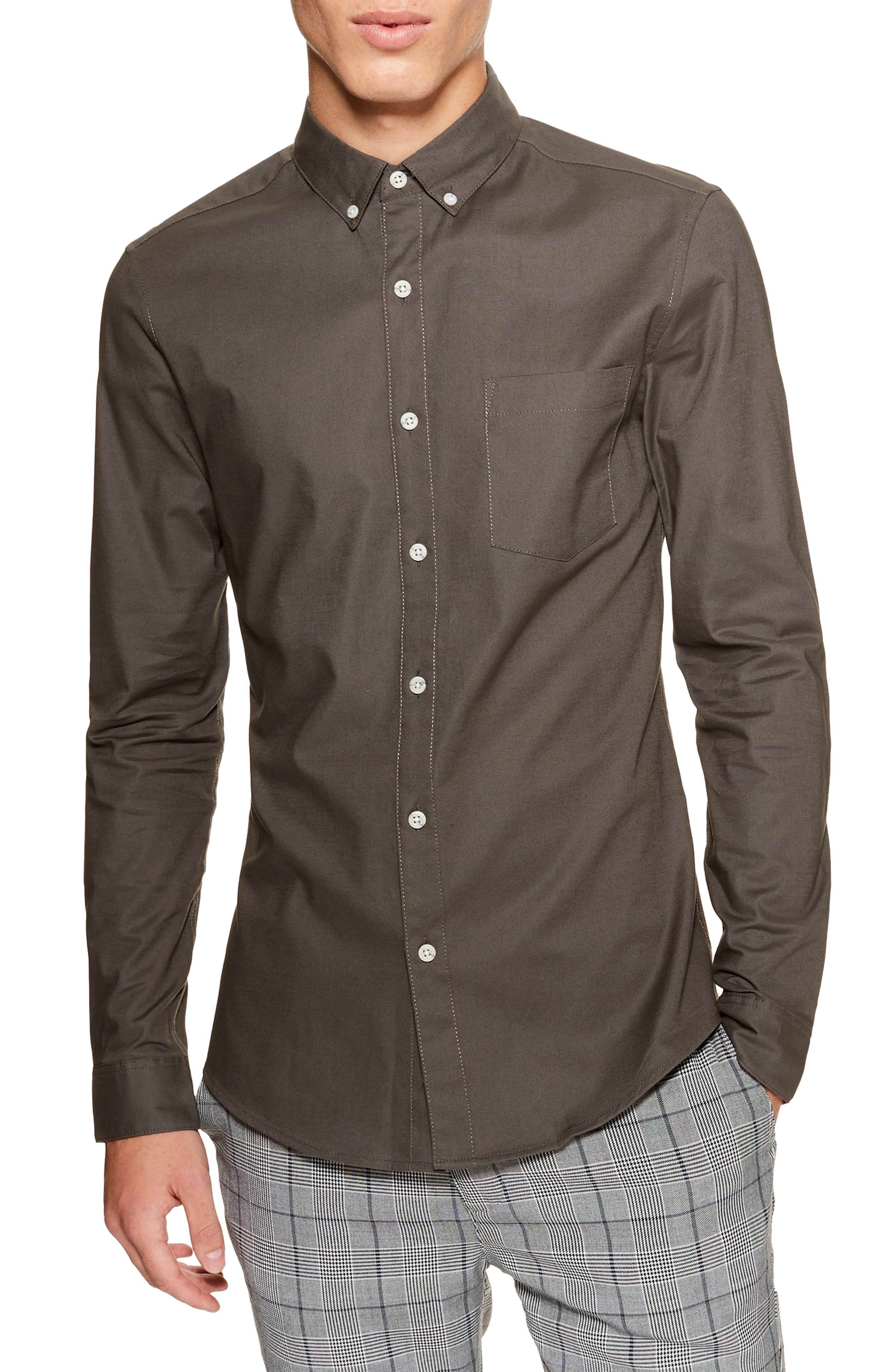 Classic Fit Oxford Shirt, Main, color, GREY