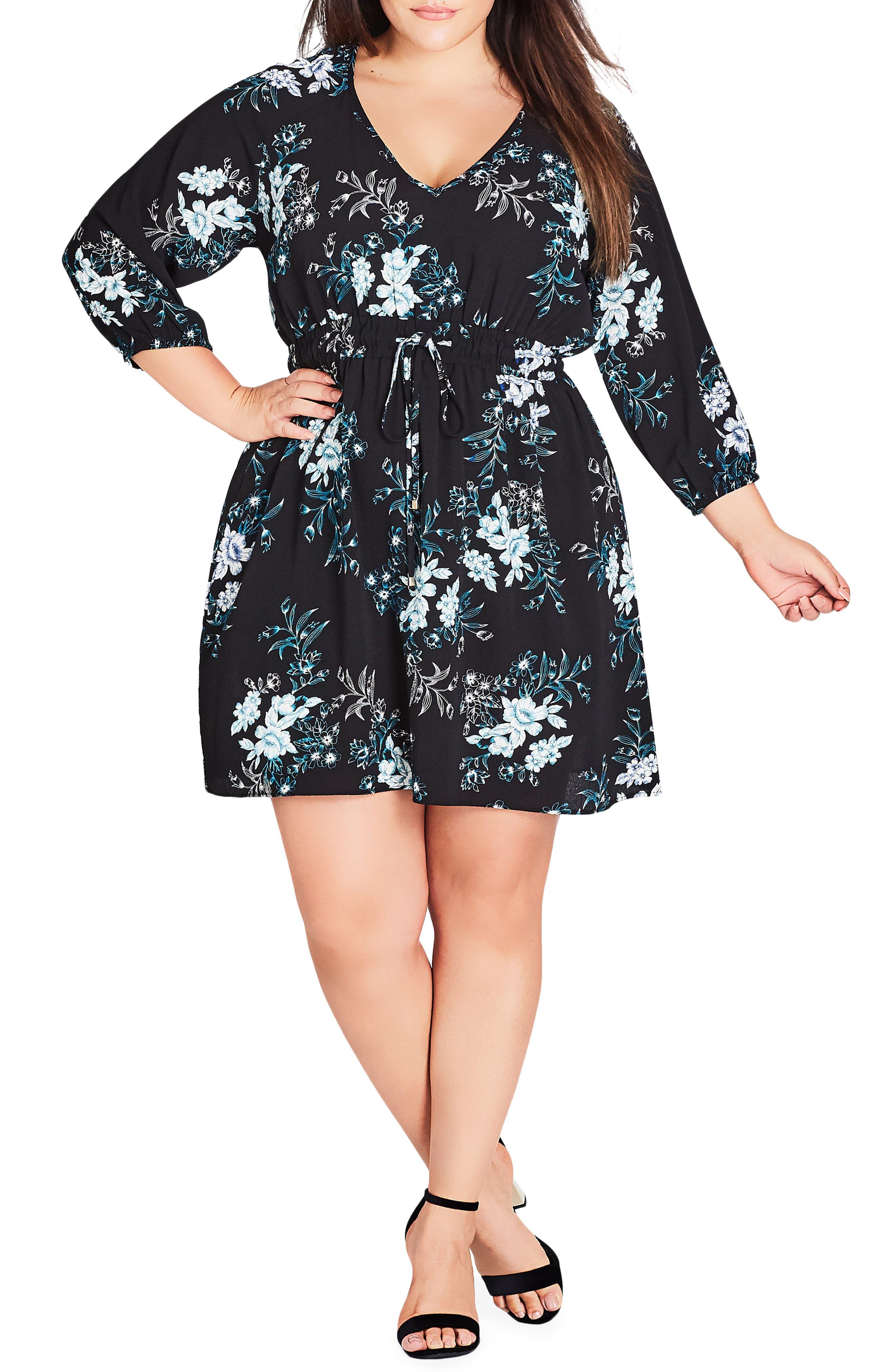 Plus Size City Chic Kaori Floral Drawstring Tunic, Black
