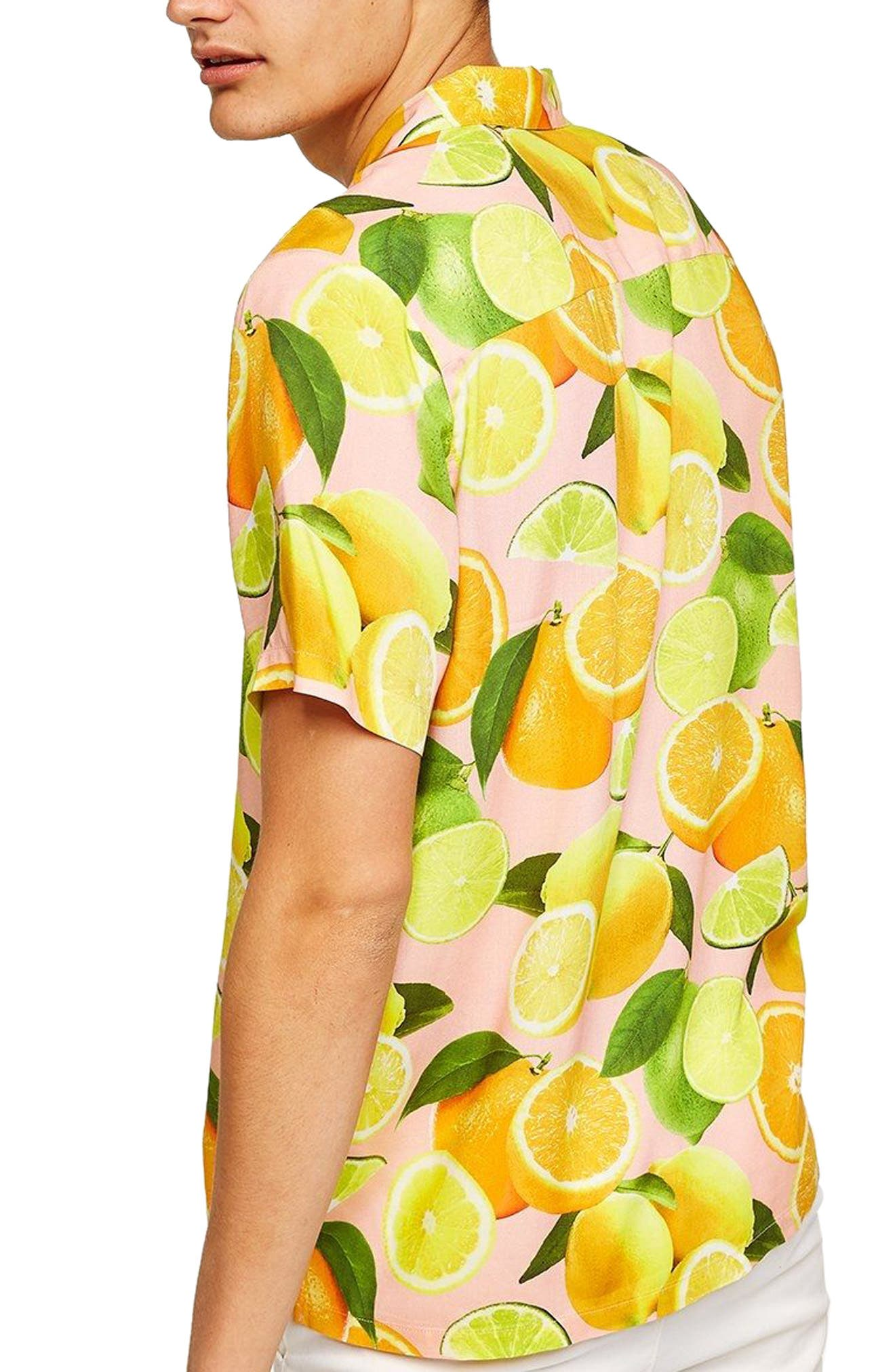 Lemon Print Camp Shirt,                             Alternate thumbnail 3, color,                             650