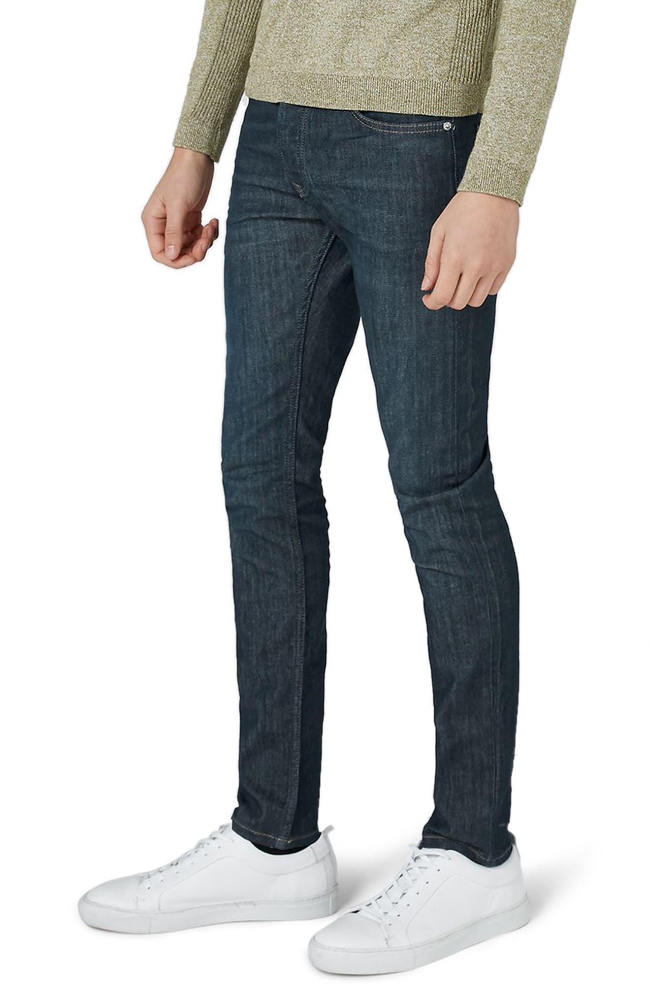 Coated Denim Skinny Jeans,                             Main thumbnail 1, color,                             BLUE