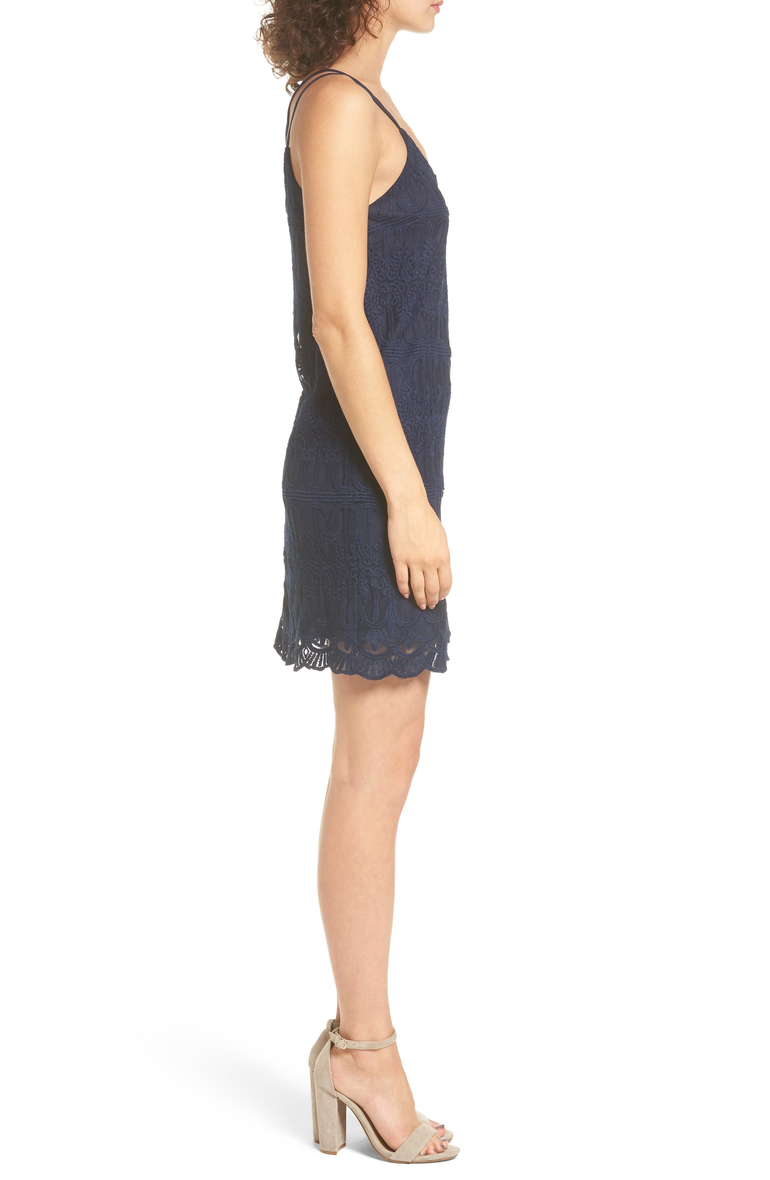 Cross Back Lace Dress,                             Alternate thumbnail 3, color,                             410