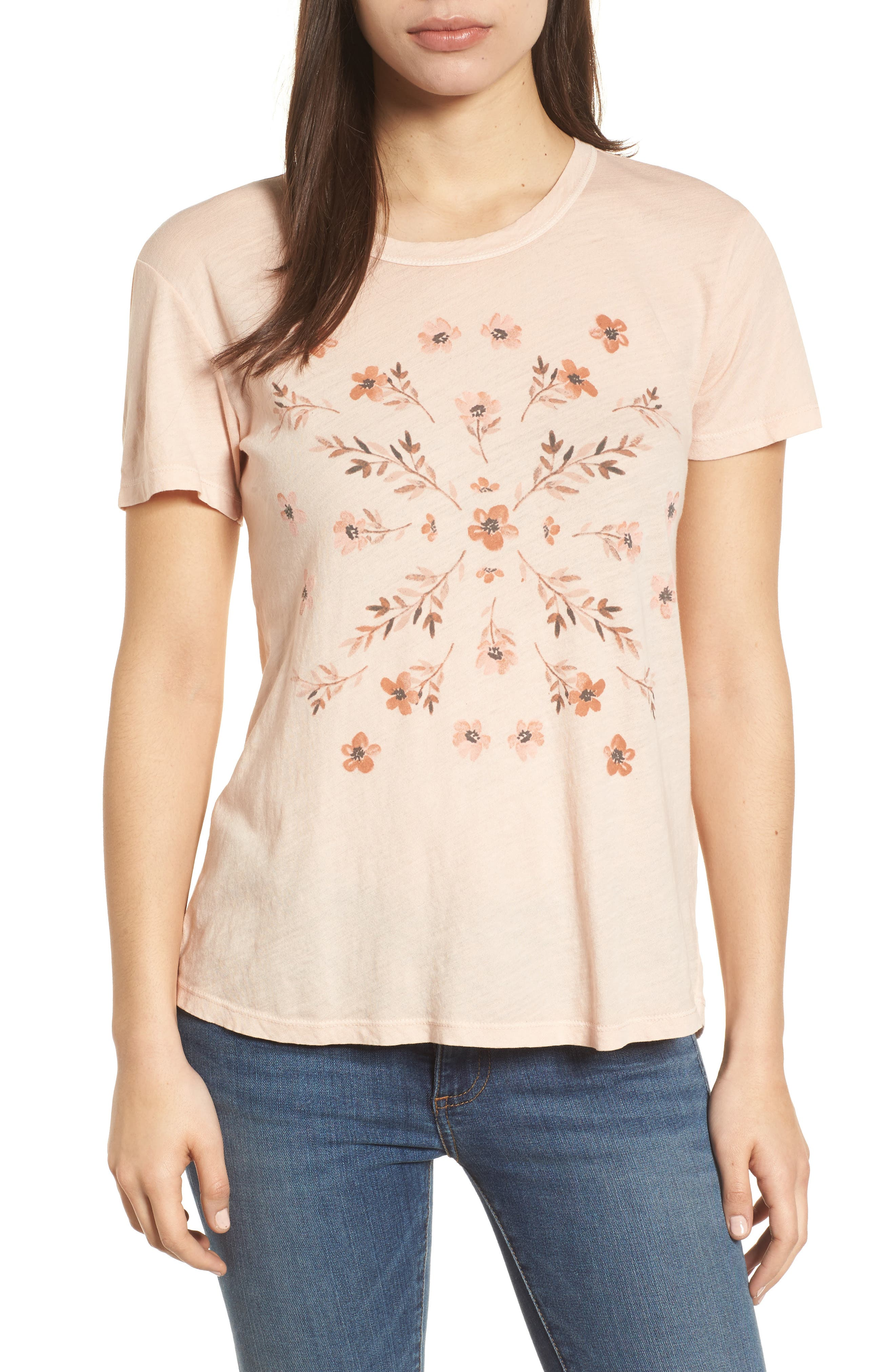 Stamp Flowers Cotton Tee,                         Main,                         color, 148