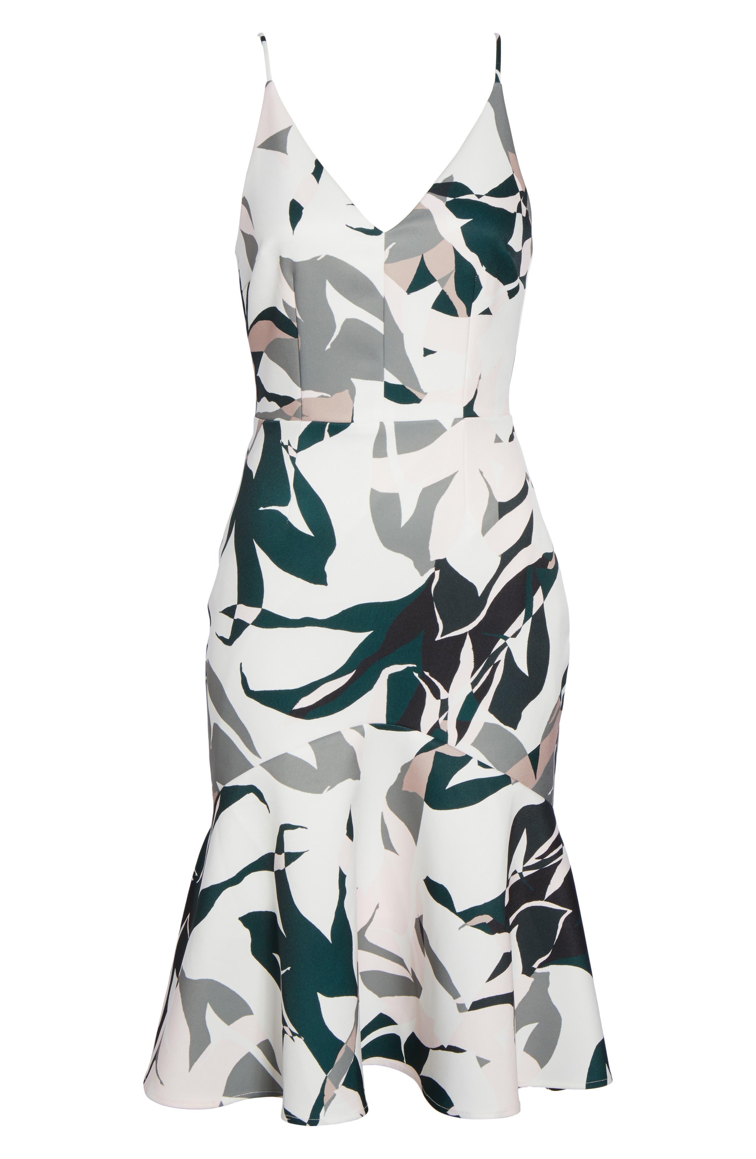 Leaf Dancer Ruffle Hem Dress,                             Alternate thumbnail 6, color,                             100