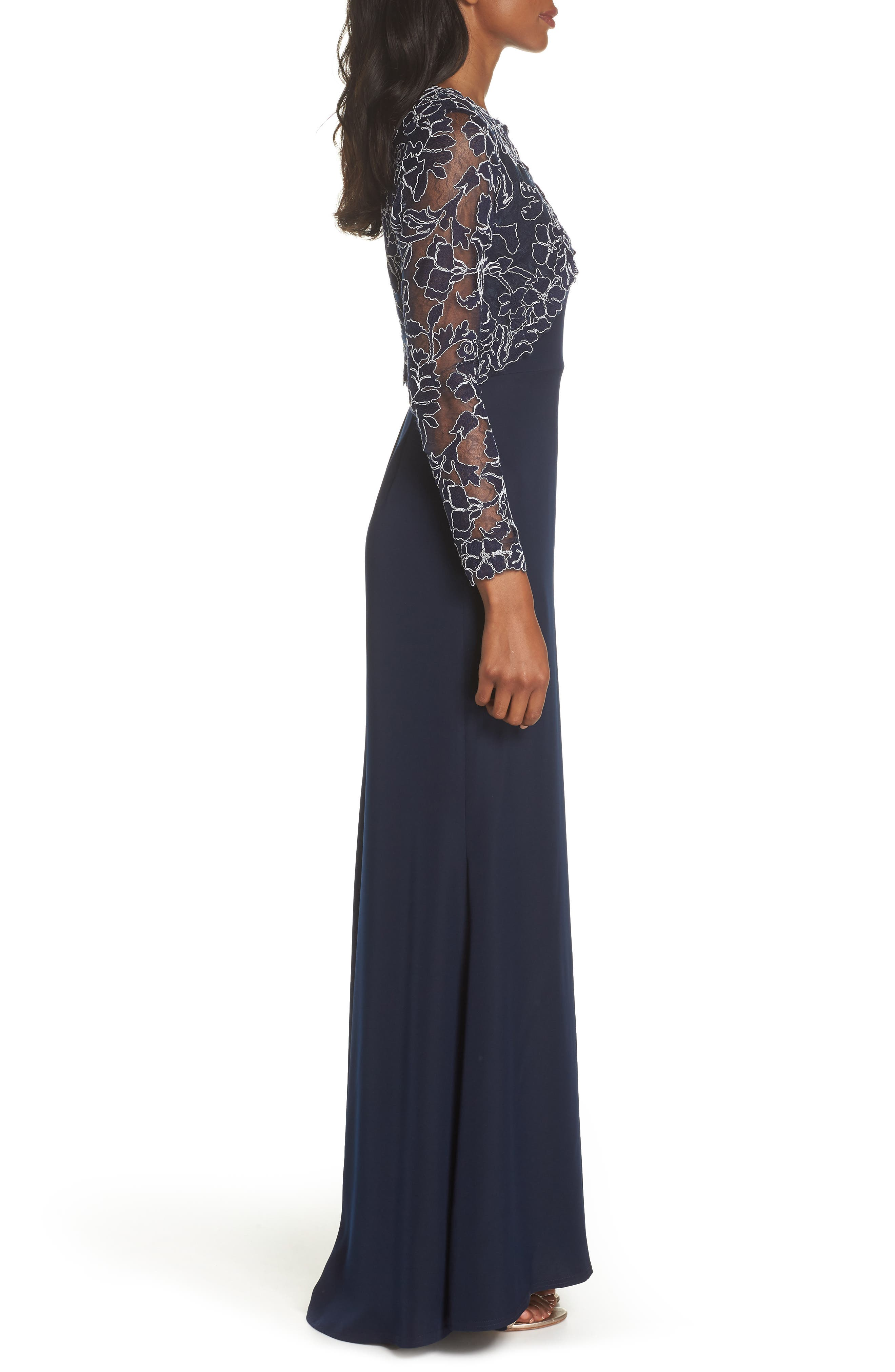 Crepe & Embroidered Lace Gown,                             Alternate thumbnail 3, color,
