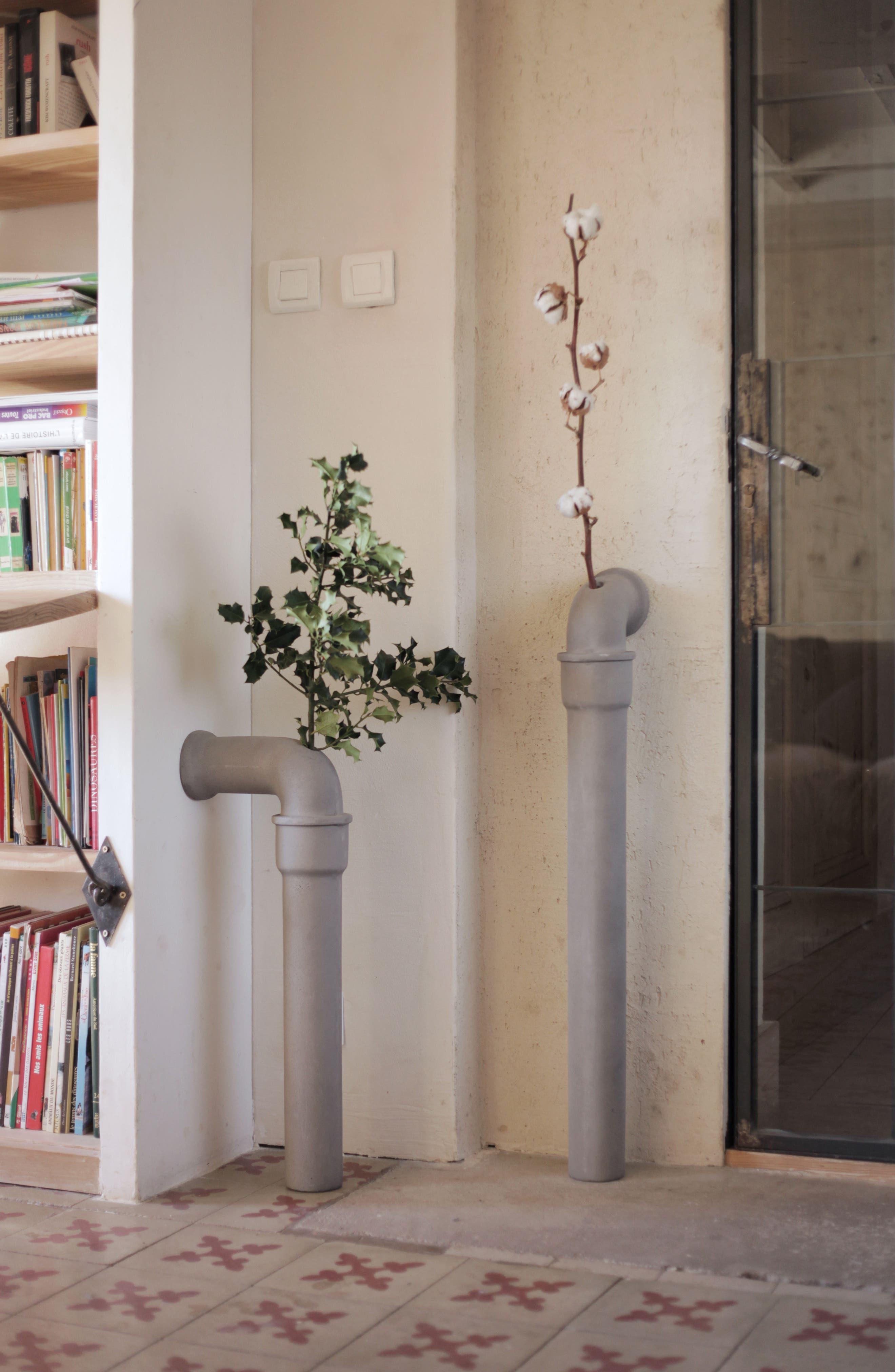 Lyon Béton Pipeline Stem Vase,                             Alternate thumbnail 2, color,                             CEMENT