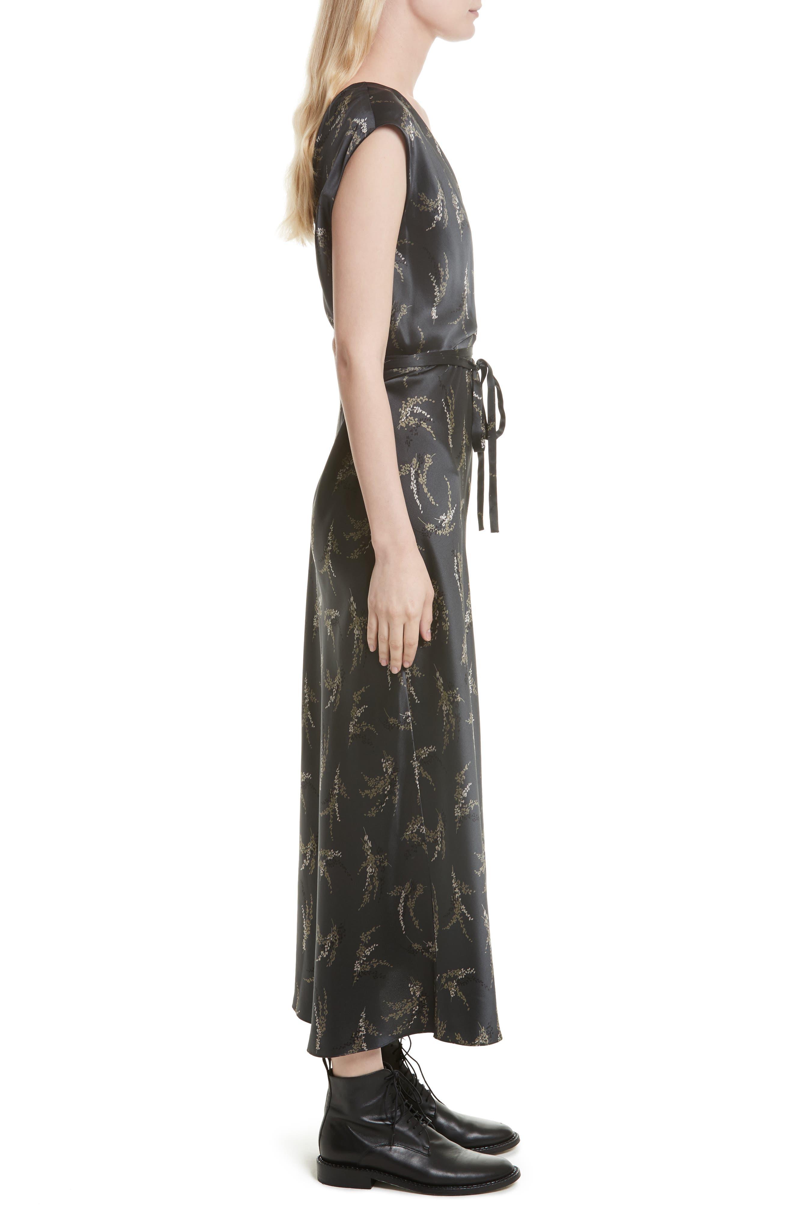 Spring Floral Faux Wrap Silk Dress,                             Alternate thumbnail 3, color,                             021