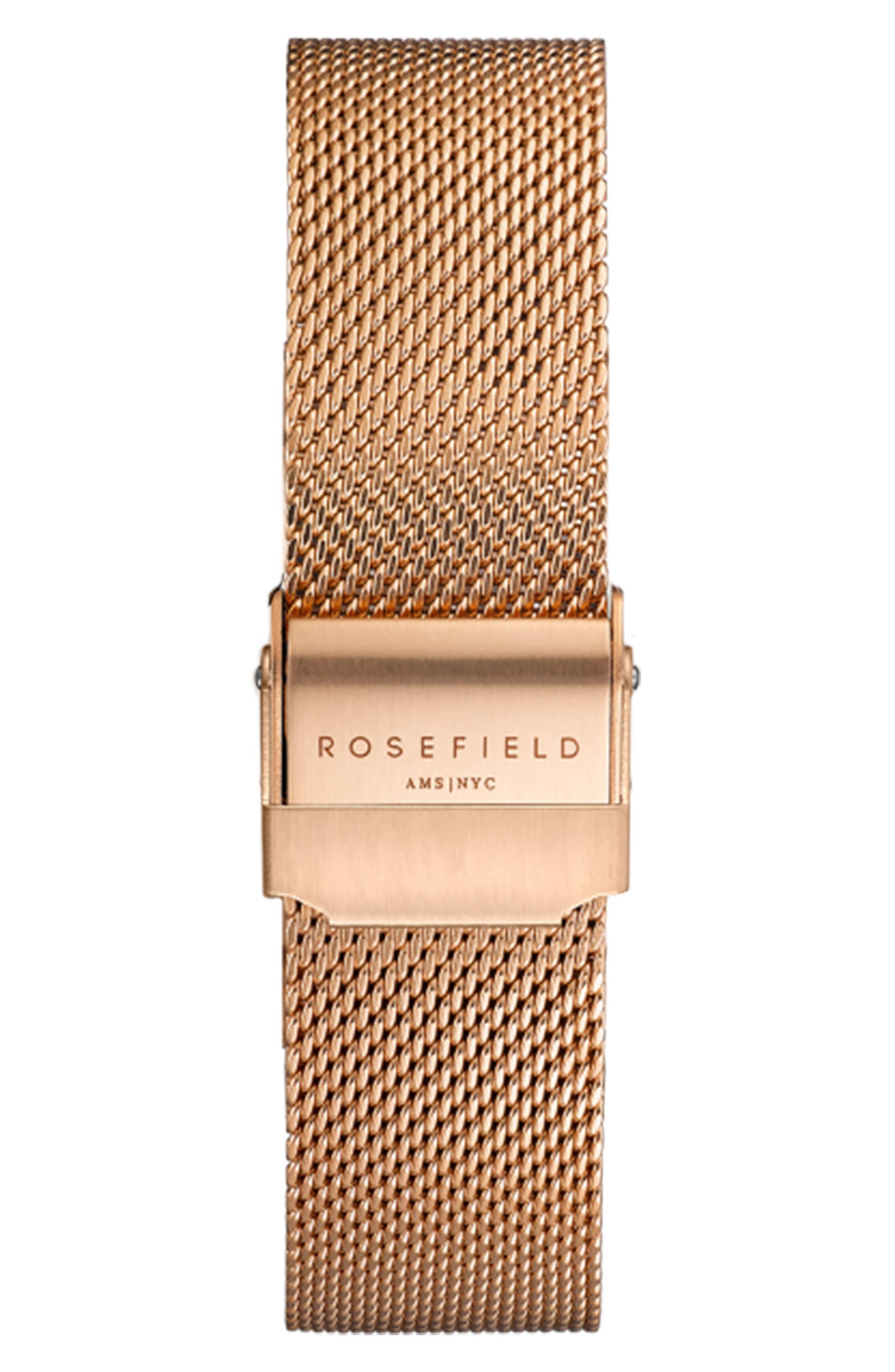 Mercer Mesh Strap Watch, 38mm,                             Alternate thumbnail 2, color,                             ROSE GOLD/ BLACK/ ROSE GOLD