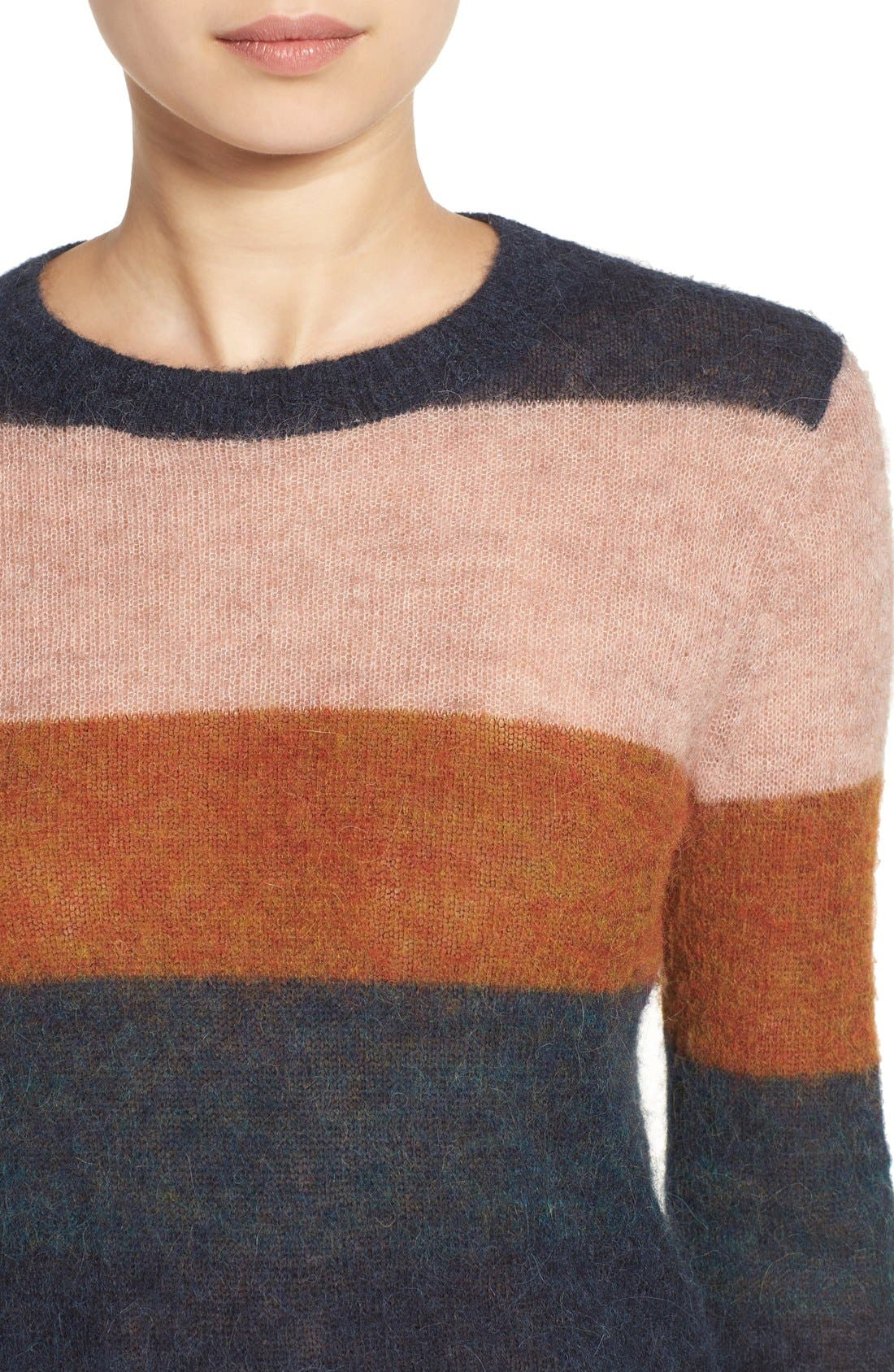 Stripe Alpaca Blend Sweater,                             Alternate thumbnail 8, color,