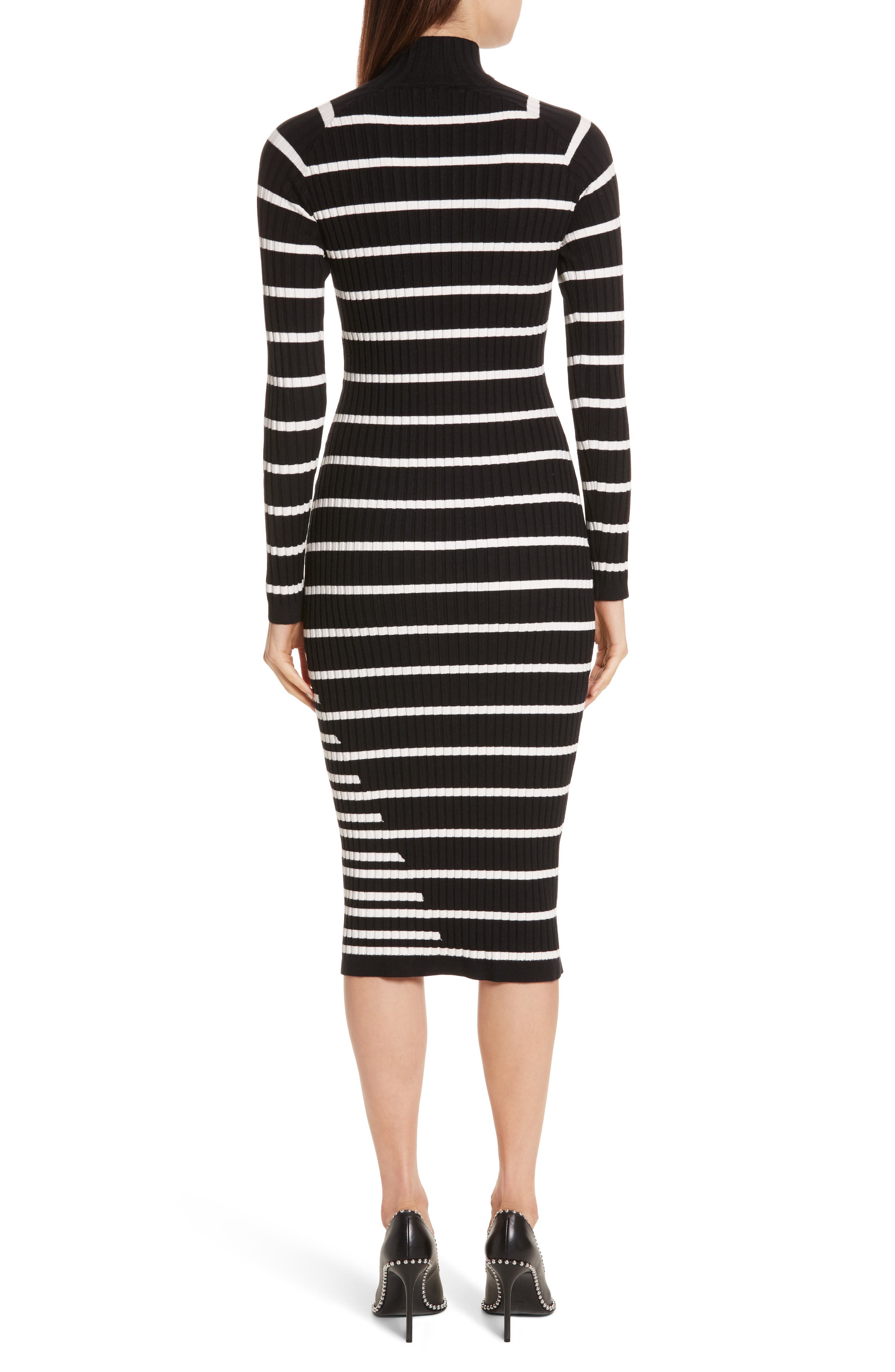 Stripe Knit Turtleneck Dress,                             Alternate thumbnail 2, color,                             004