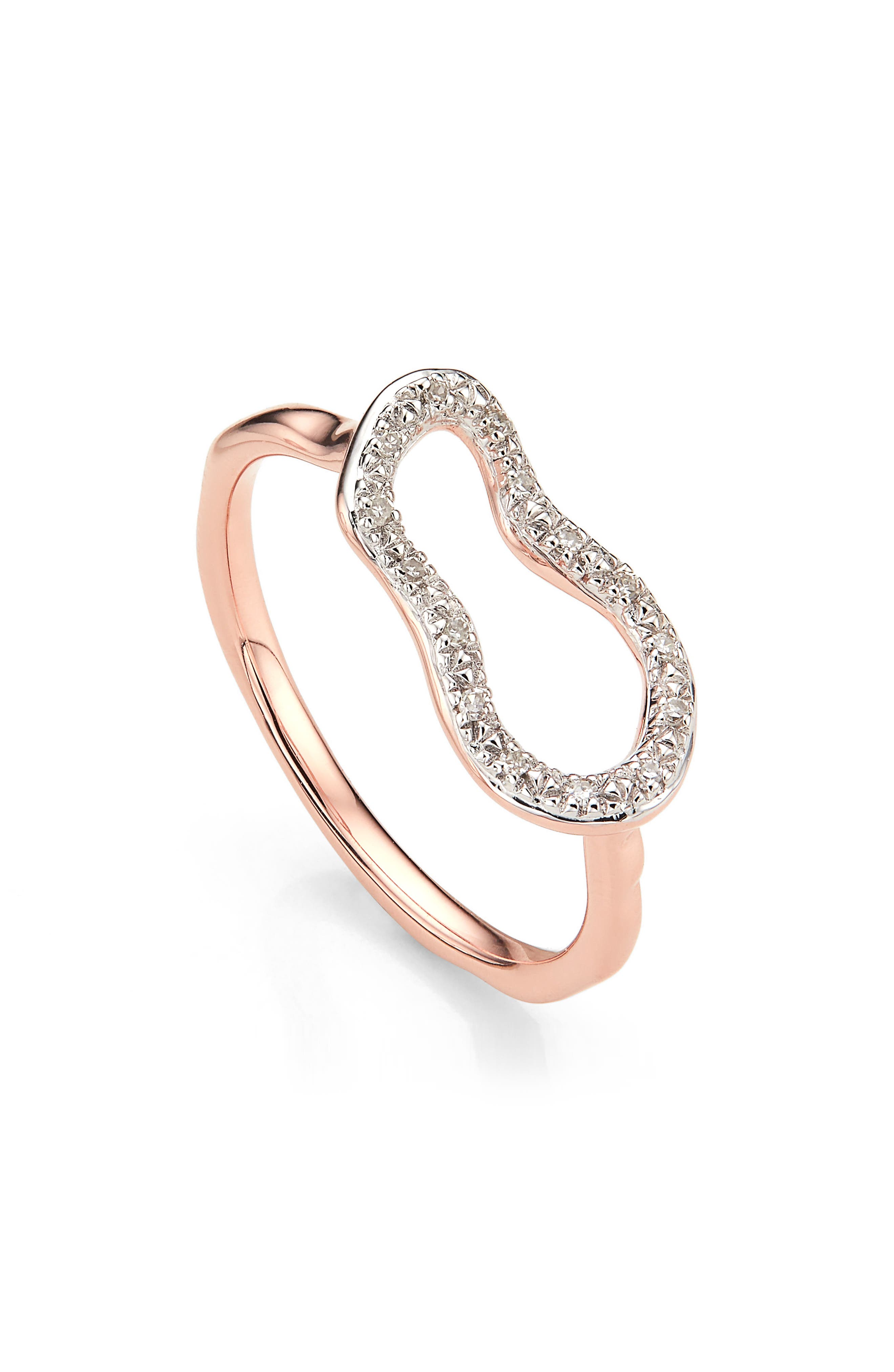 MONICA VINADER,                             Riva Mini Pod Vermeil Diamond Ring,                             Main thumbnail 1, color,                             ROSE GOLD/ DIAMOND