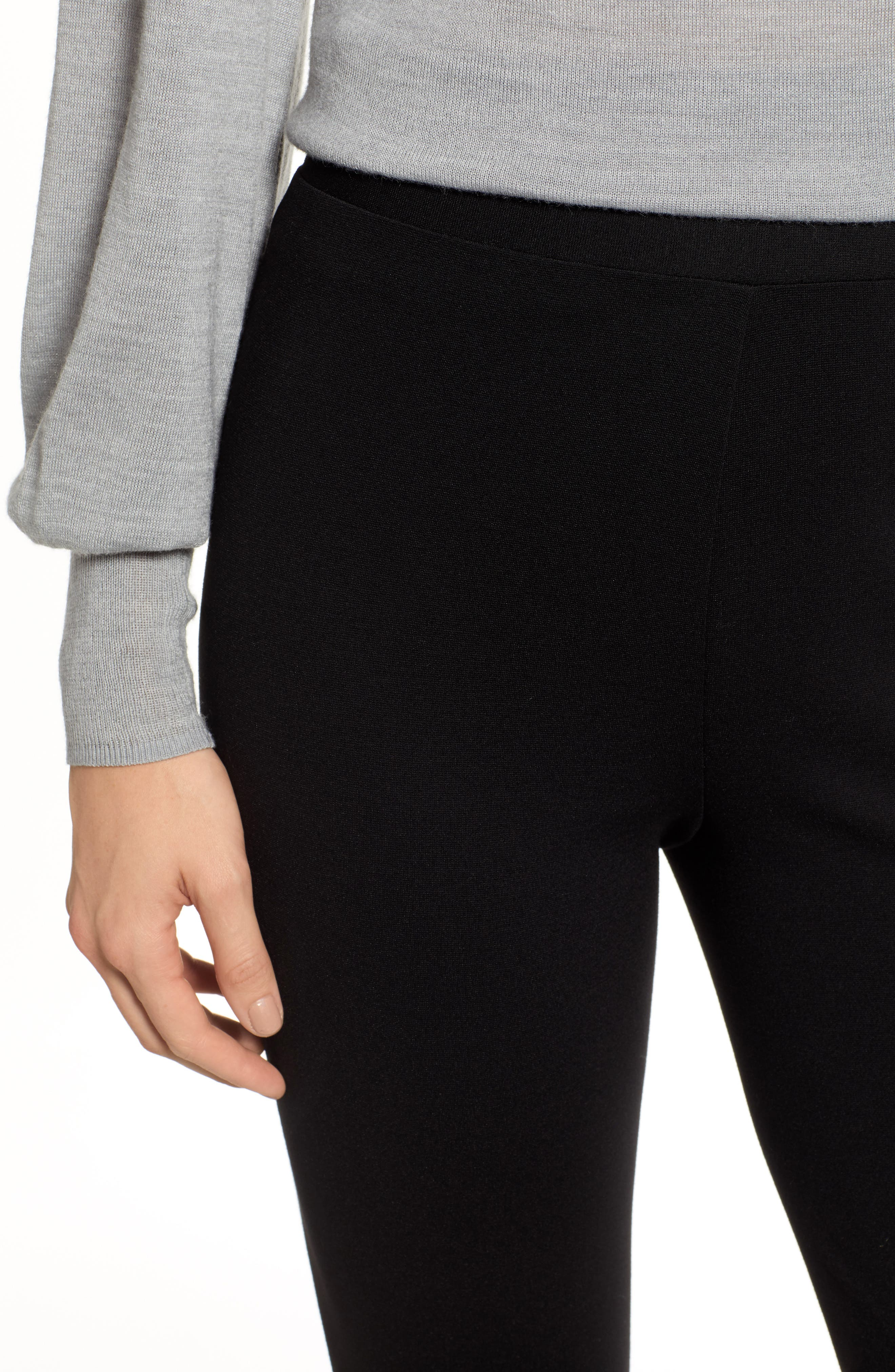 Two by Vince Camuto Seamed Back Leggings,                             Alternate thumbnail 4, color,                             RICH BLACK