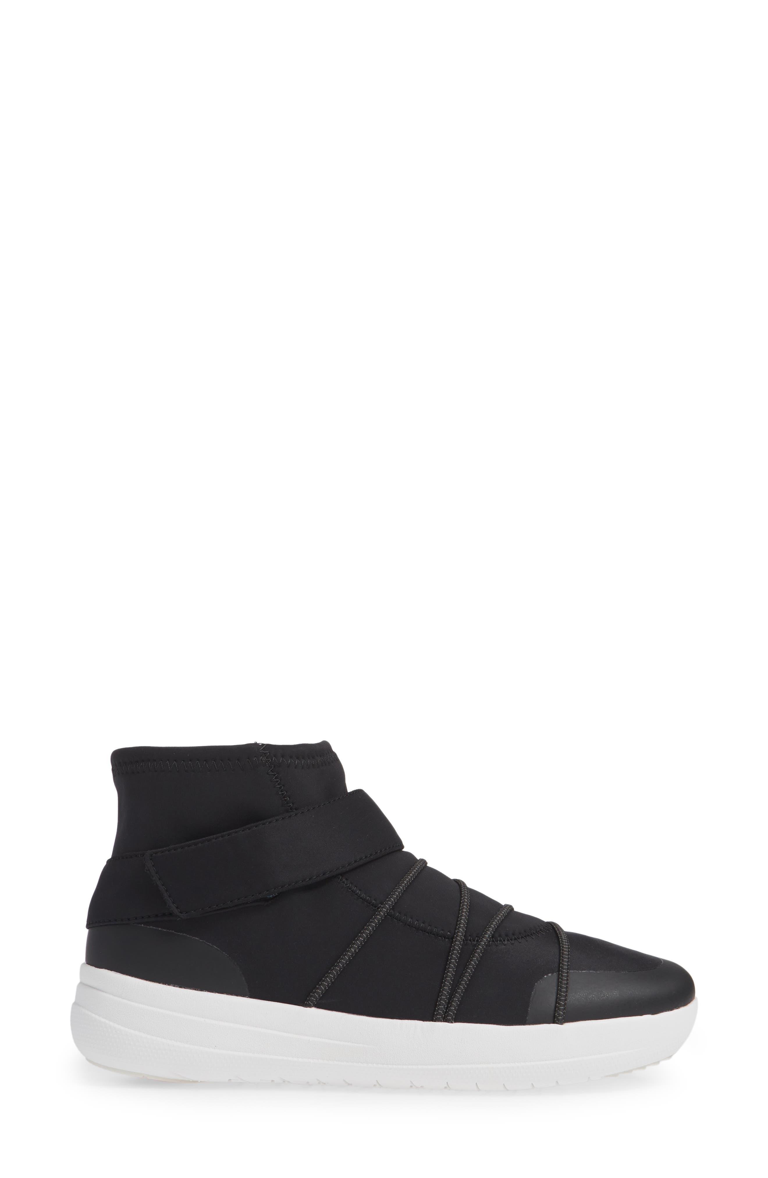 Neoflex High Top Sneaker,                             Alternate thumbnail 3, color,                             BLACK FABRIC