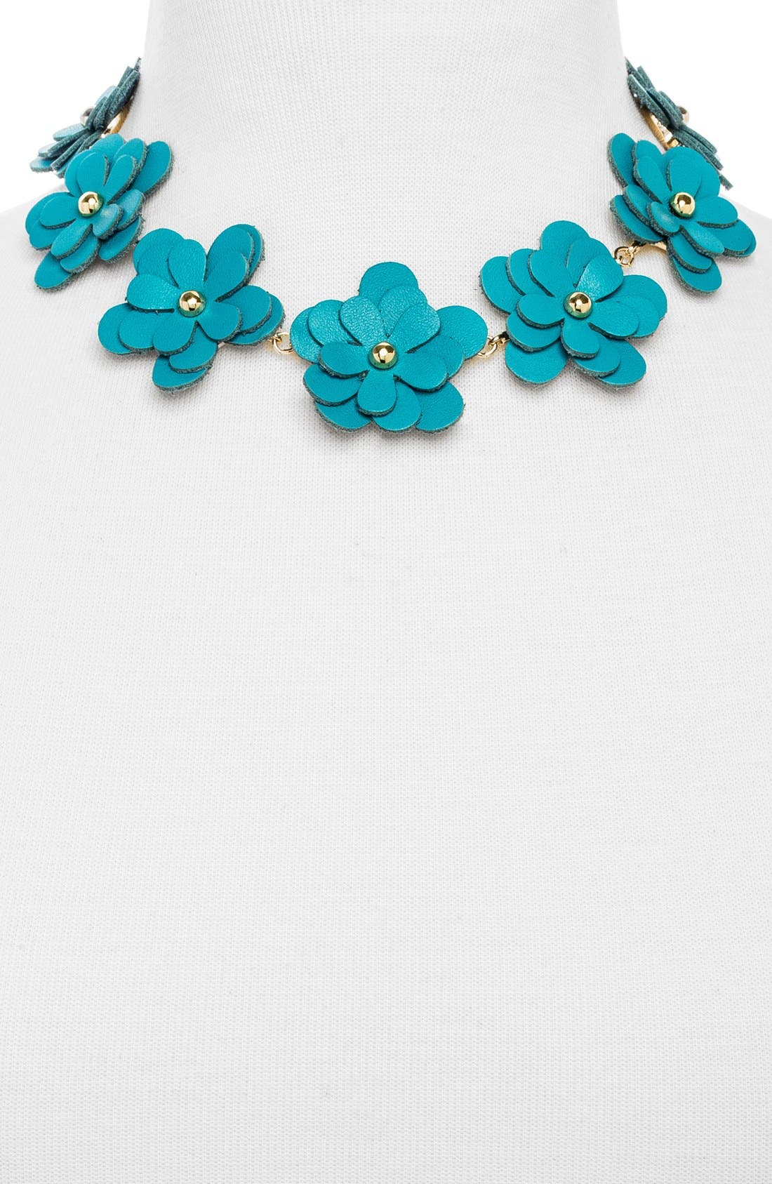 'Zoe' Leather Flower Collar Necklace,                             Alternate thumbnail 3, color,                             400