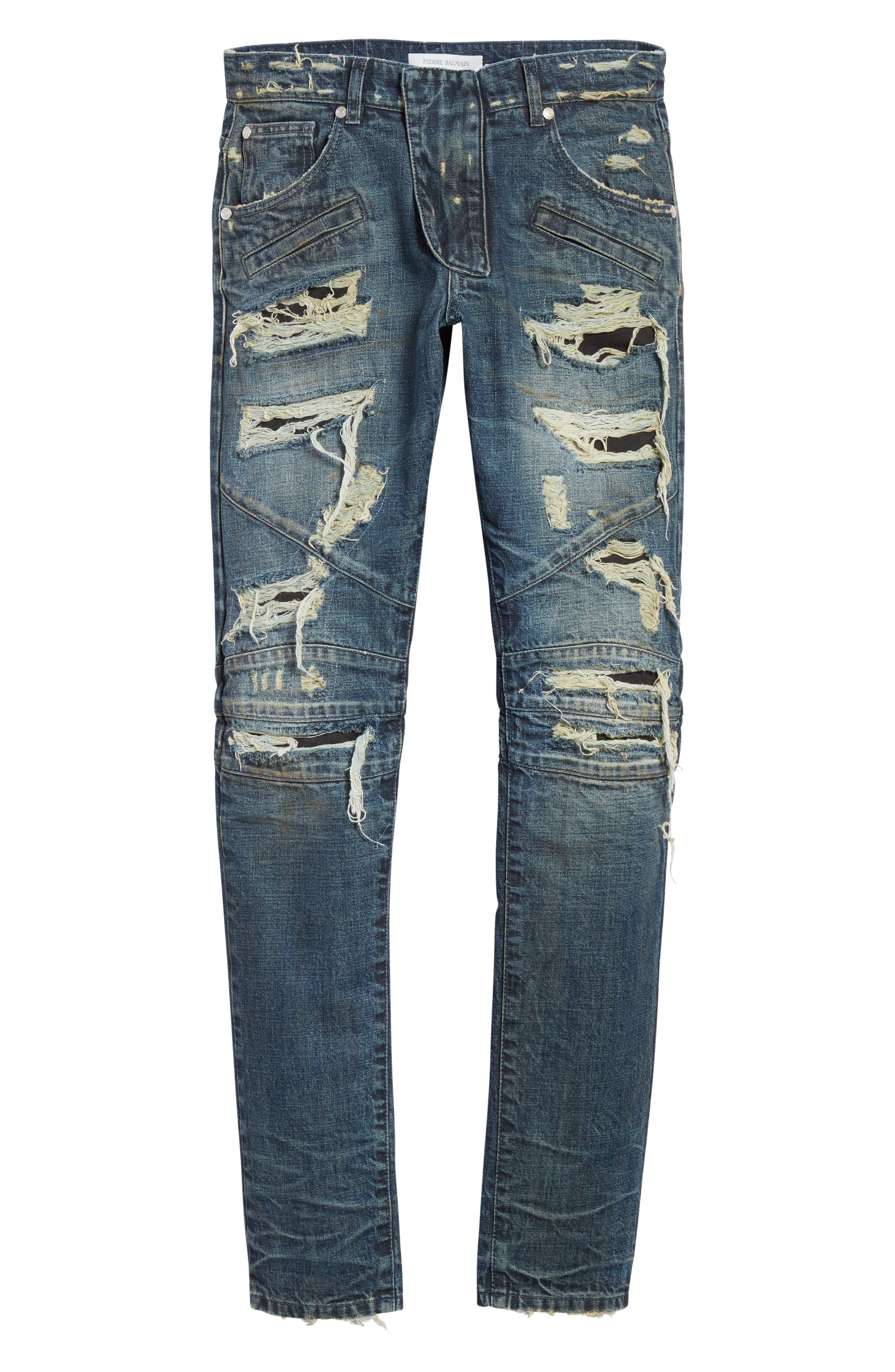 Destroyed Biker Jeans,                             Alternate thumbnail 6, color,                             420