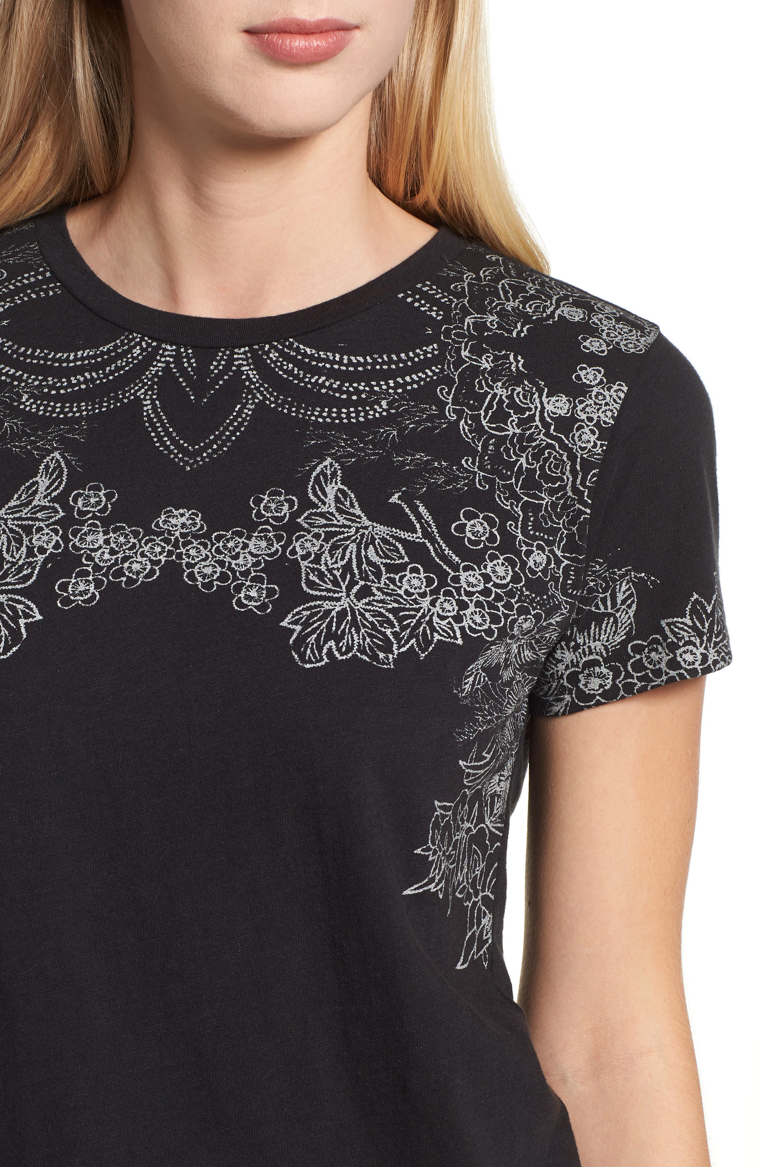 LUCKY BRAND,                             Embroidered Tee,                             Alternate thumbnail 4, color,                             001