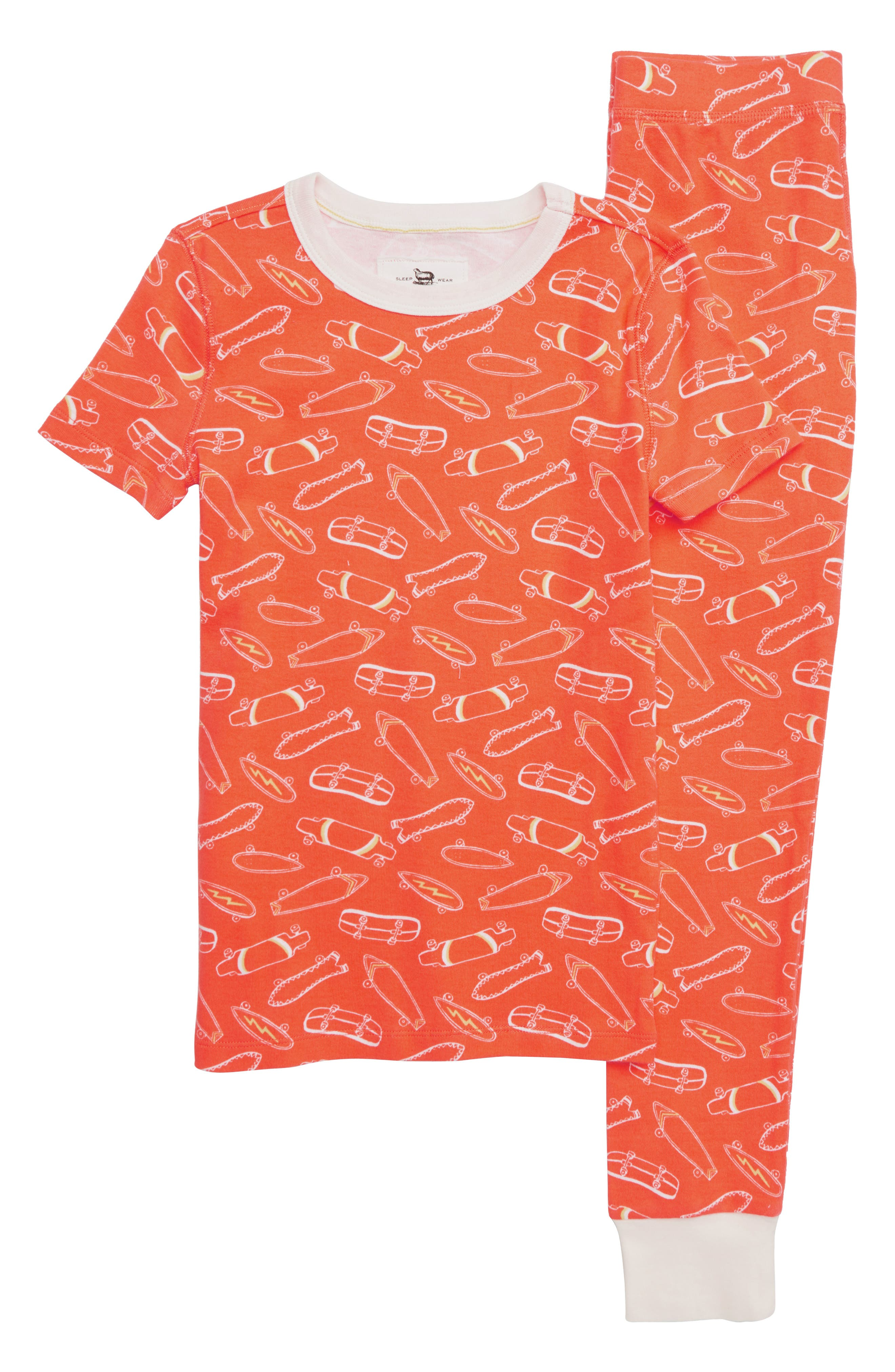 CREWCUTS BY J.CREW Skateboards Fitted Two-Piece Pajamas, Main, color, ORANGE IVORY MULTI
