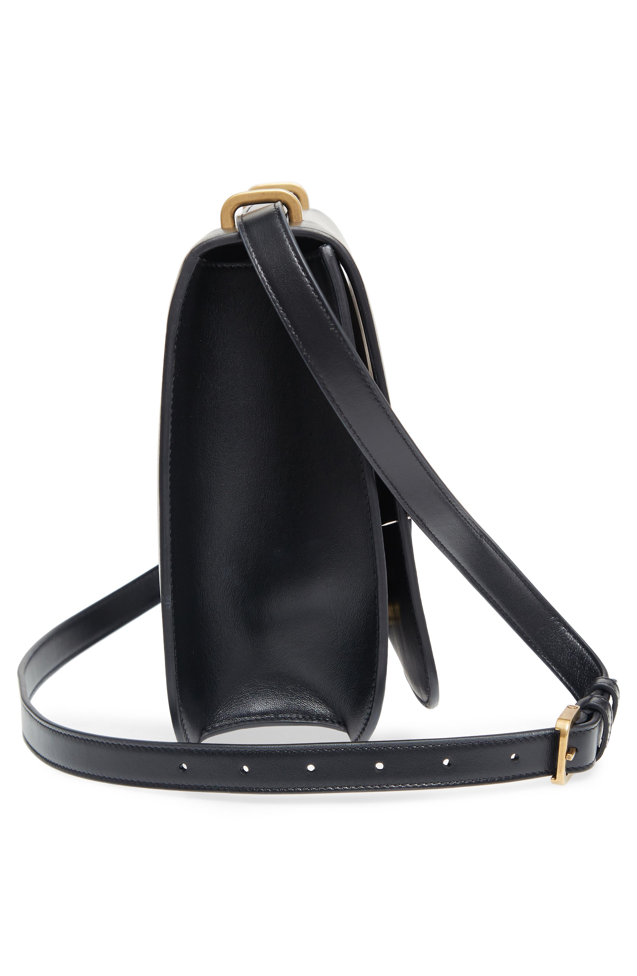 Medium Spontini Leather Shoulder Bag,                             Alternate thumbnail 5, color,                             NERO