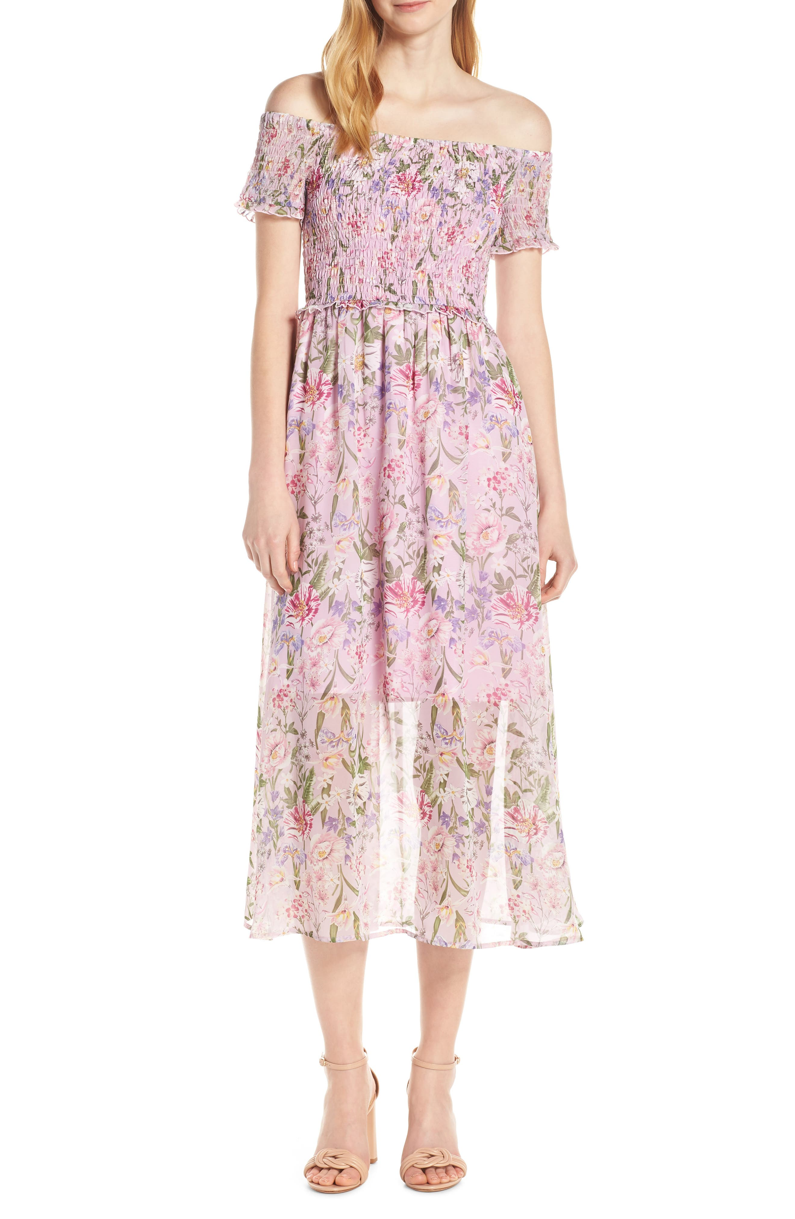 Sam Edelman Smocked Off The Shoulder Dress, Pink