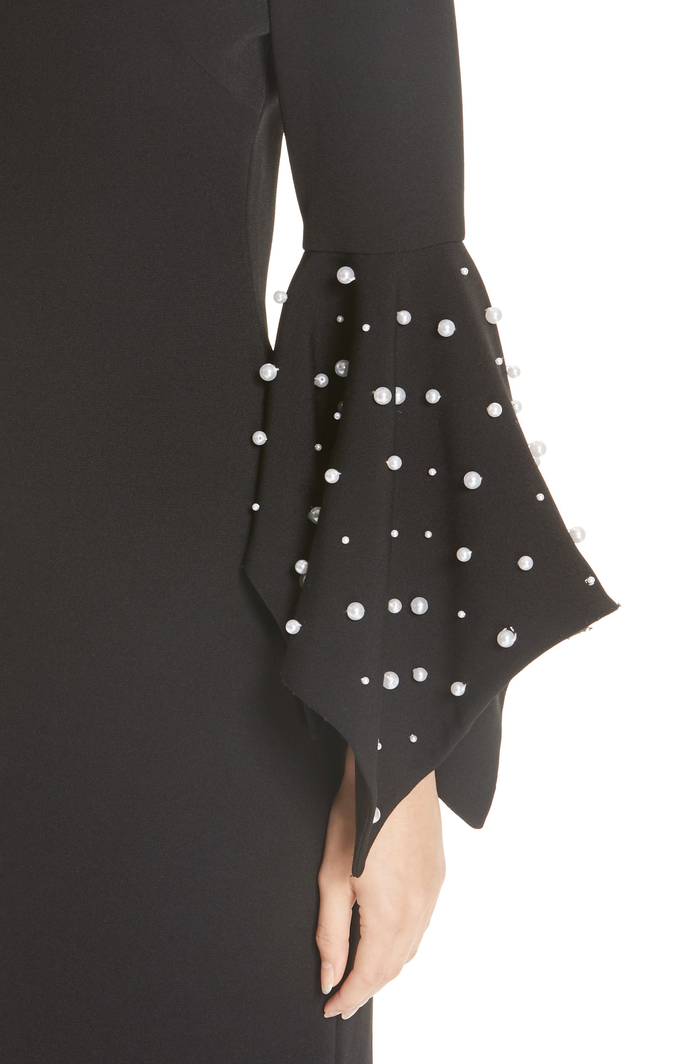 Beaded Flare Cuff Sheath Dress,                             Alternate thumbnail 4, color,                             001