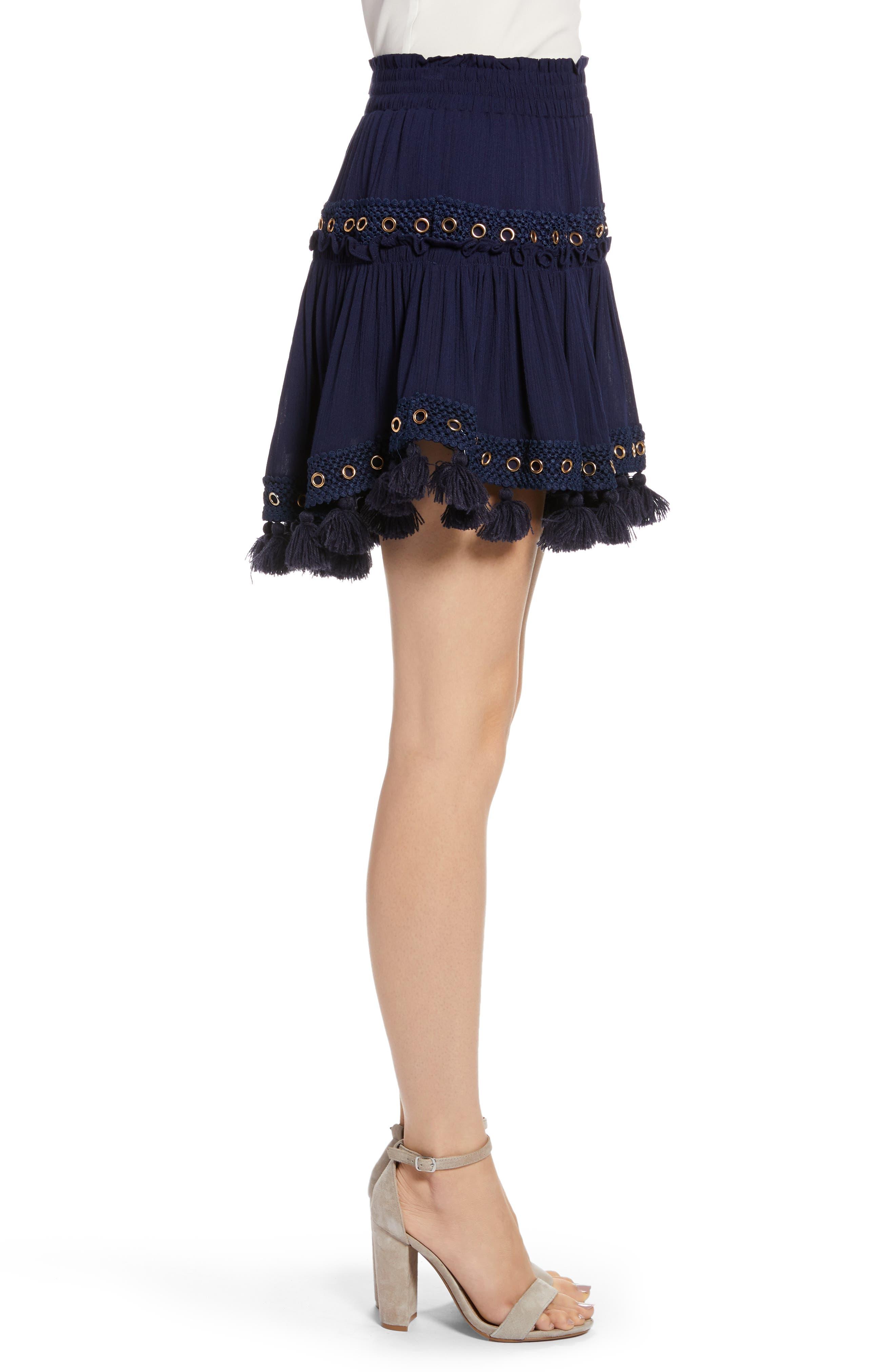 Marcella Fringe Trim Skirt,                             Alternate thumbnail 3, color,                             AZURE