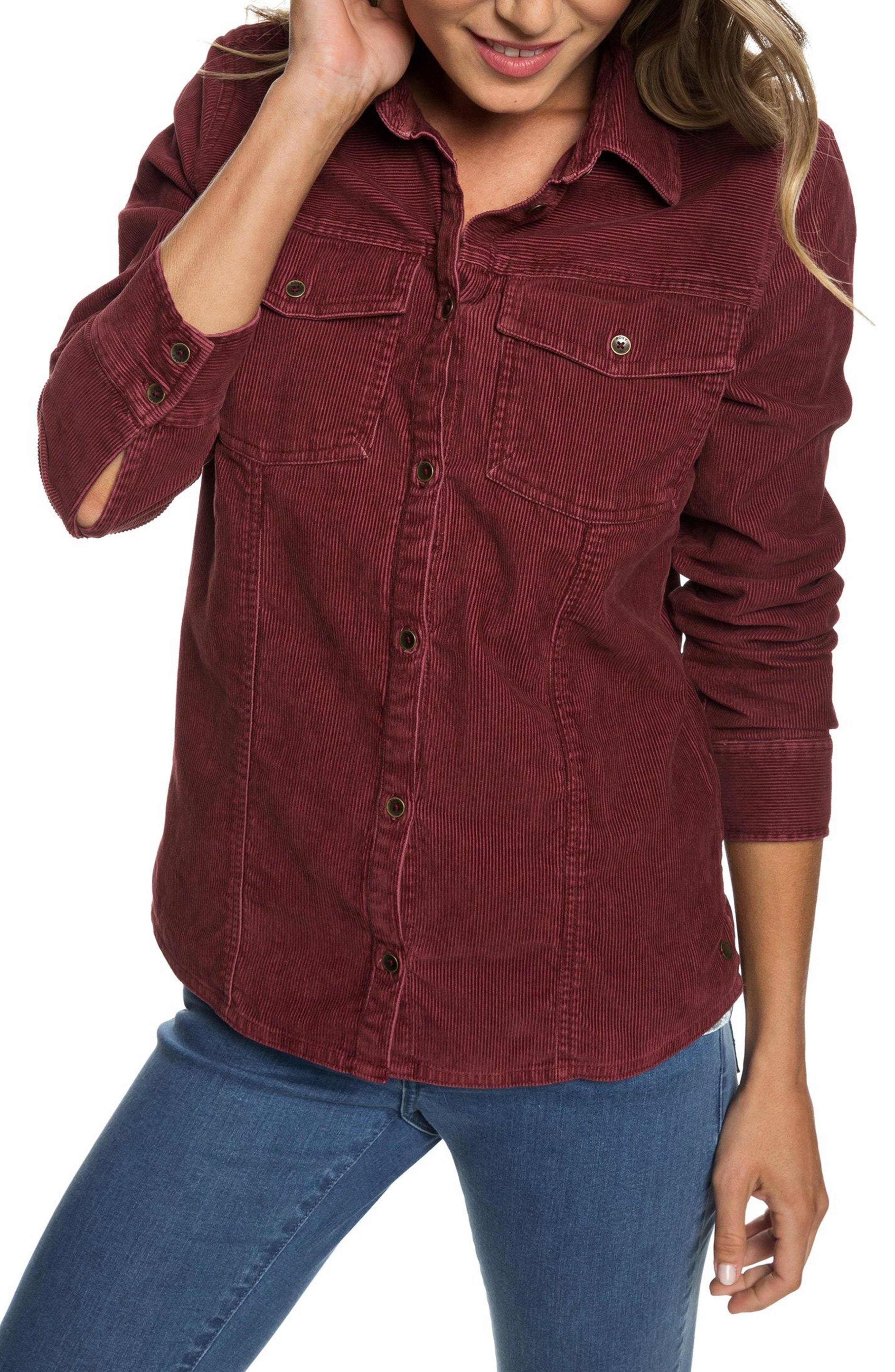 The Edge Of Wildness Corduroy Shirt,                             Main thumbnail 1, color,                             OXBLOOD RED
