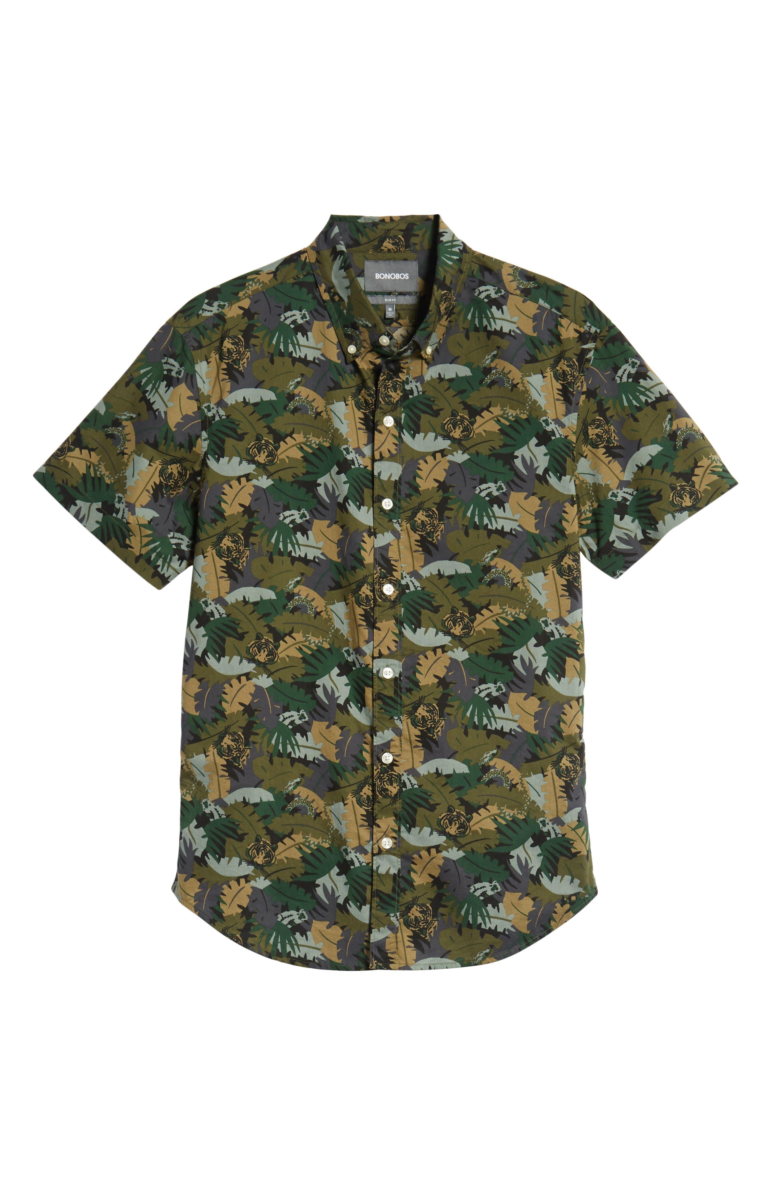 Riviera Slim Fit Jungle Camo Sport Shirt,                             Alternate thumbnail 5, color,                             001