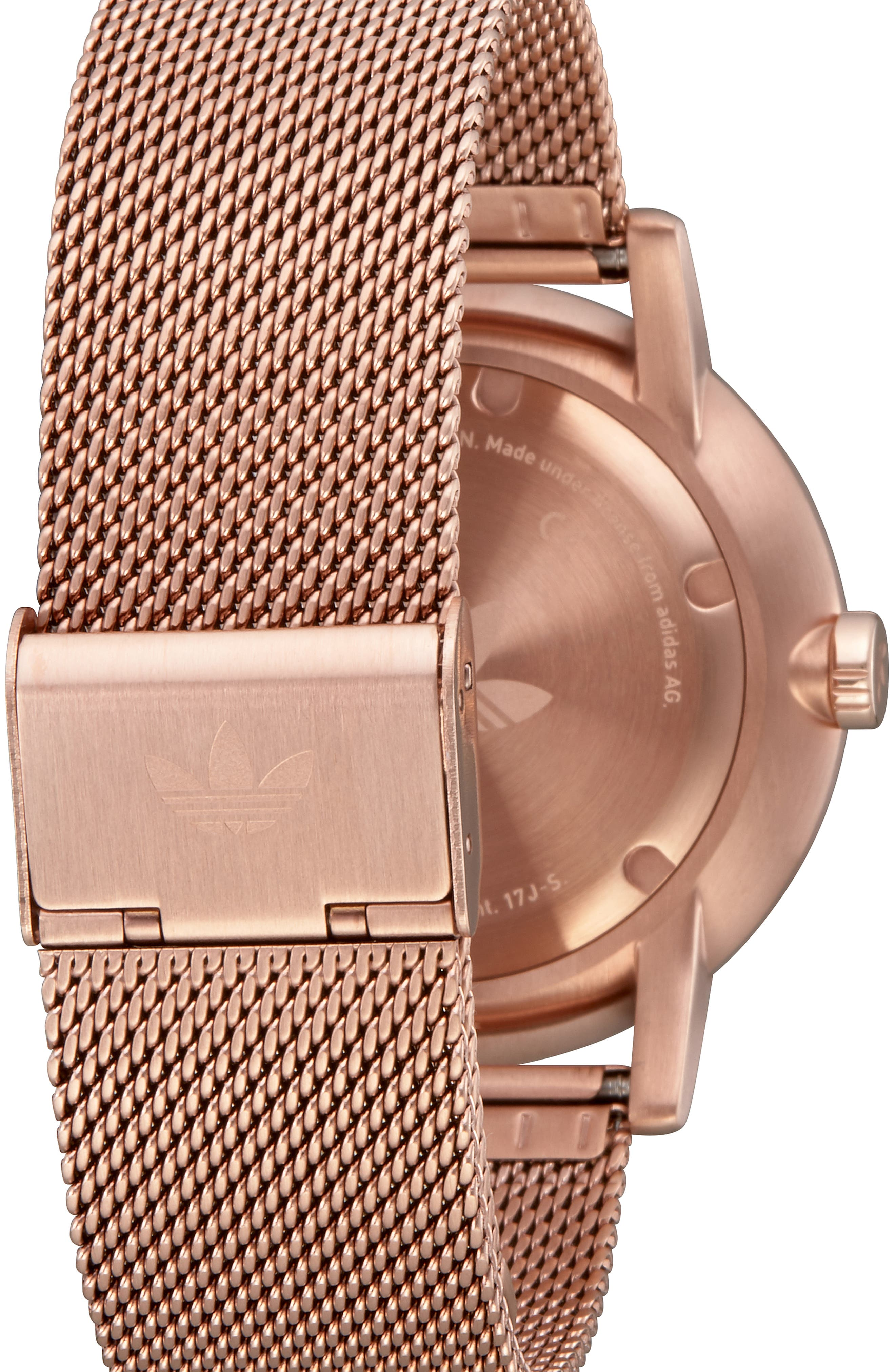 District Milanese Bracelet Watch, 40mm,                             Alternate thumbnail 2, color,                             BROWN/ GREEN/ ROSE GOLD