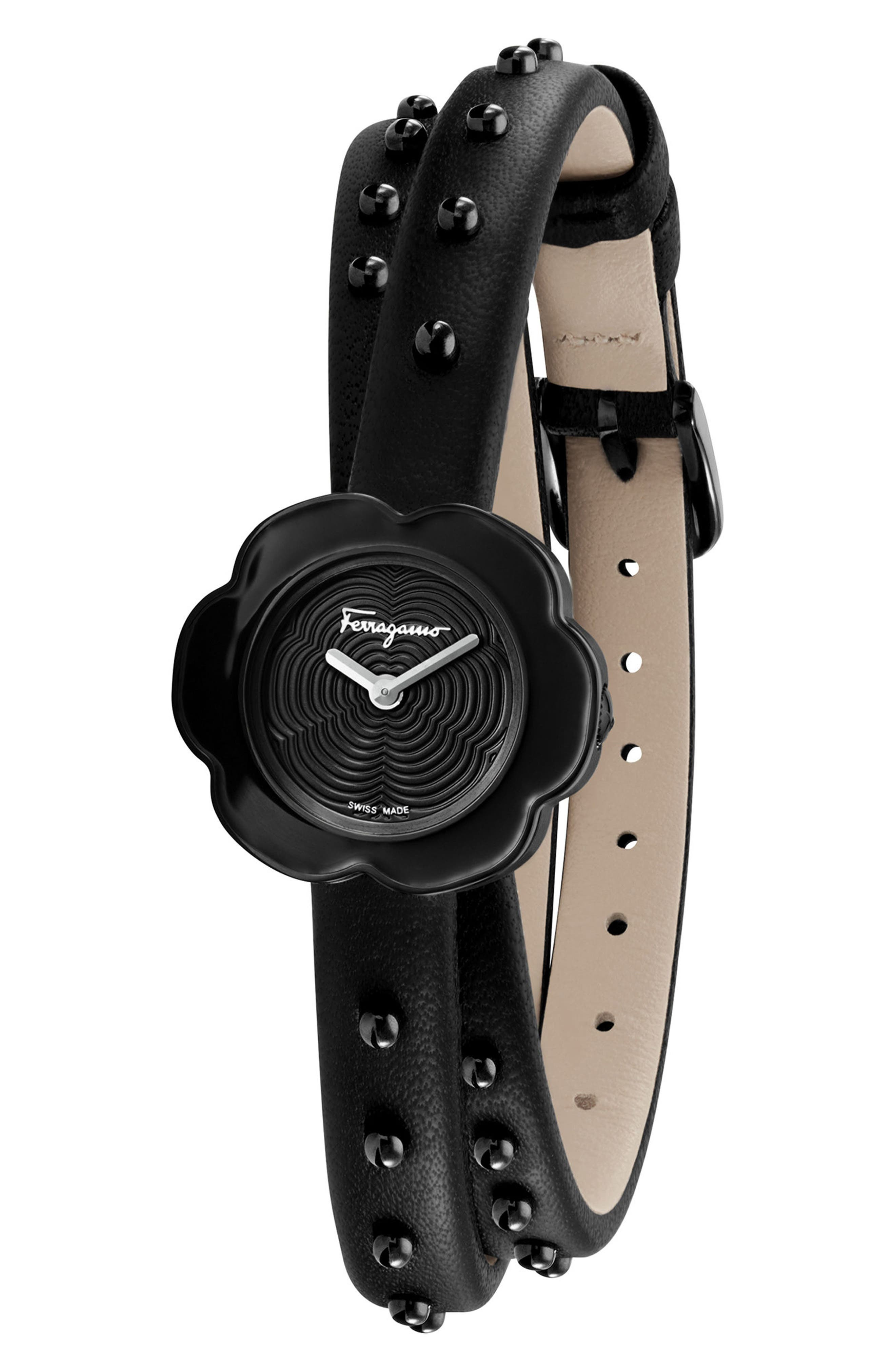 Fiore Leather Strap Watch, 24mm,                             Alternate thumbnail 4, color,                             BLACK